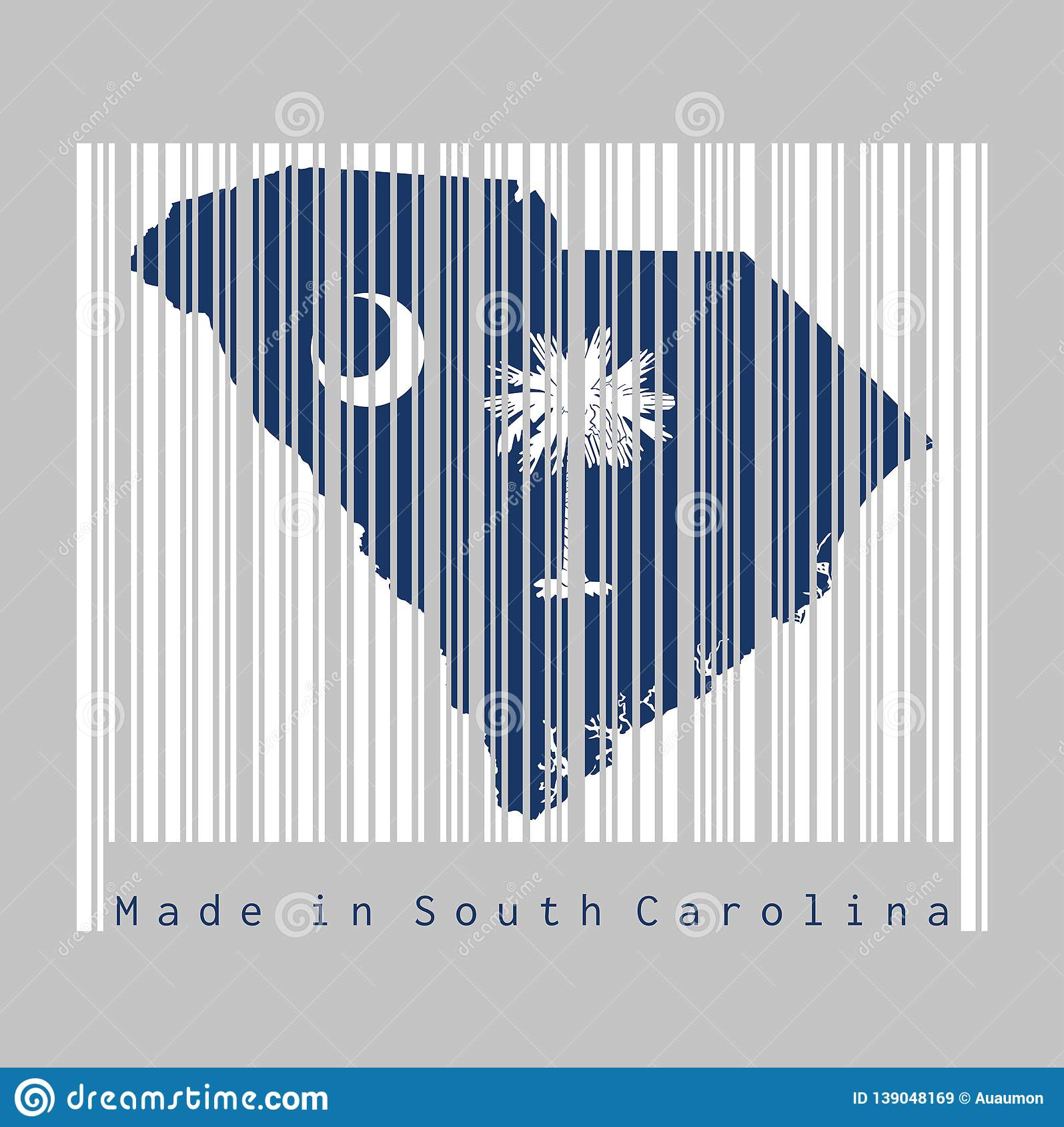 Barcode Set The Shape To South Carolina Map Outline And The Color Of