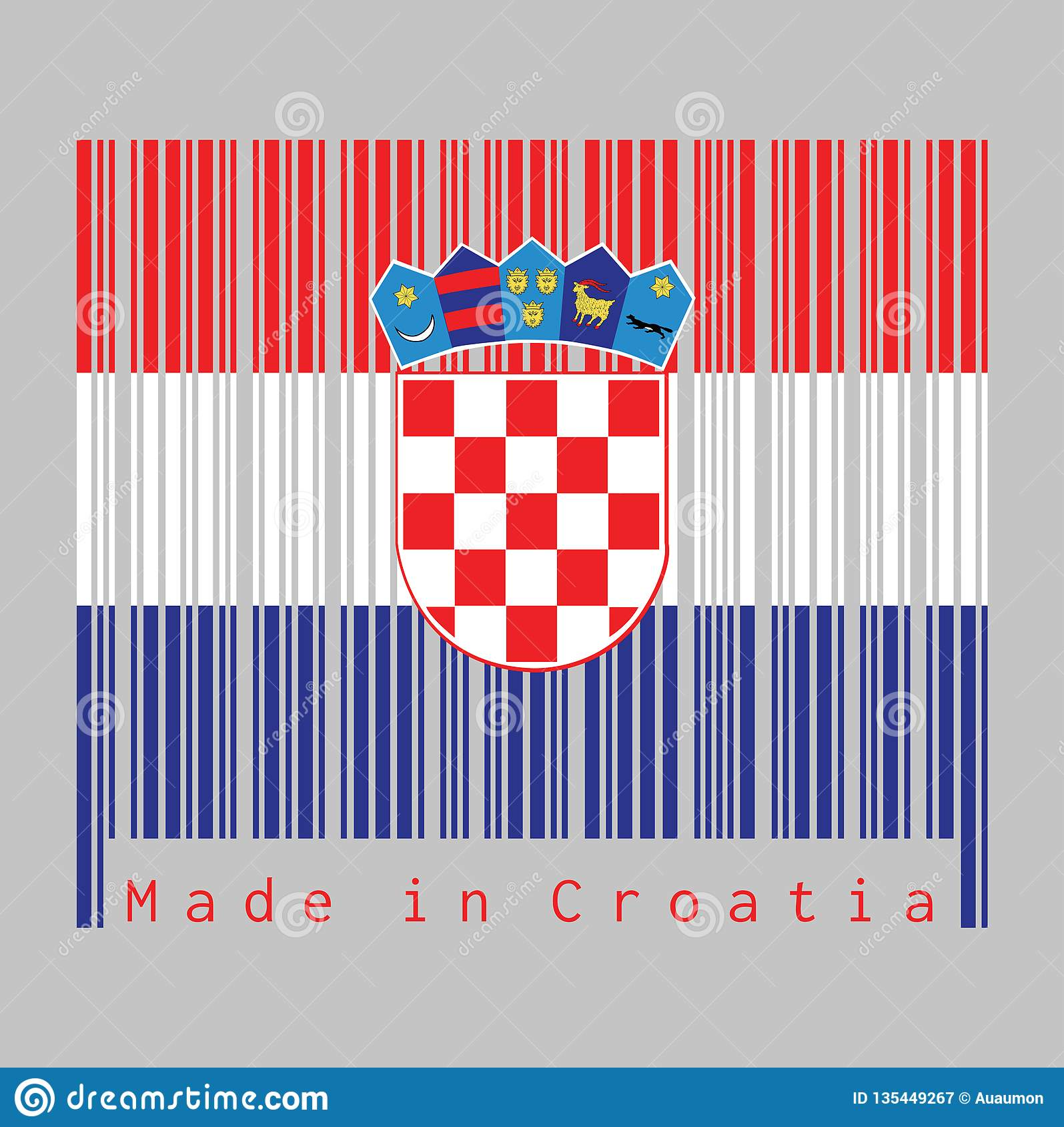 Barcode Stellte Die Farbe Von Kroatien-Flagge, -ROT