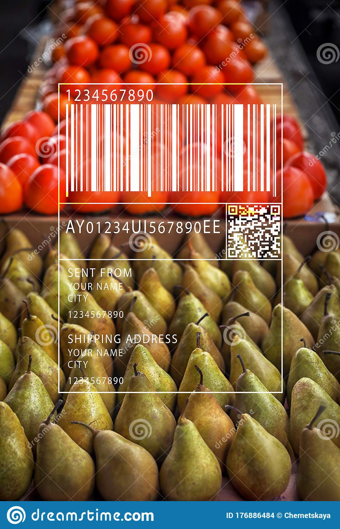 Barcode And Tasty Fruits On Counter At Wholesale Market Stock Photo