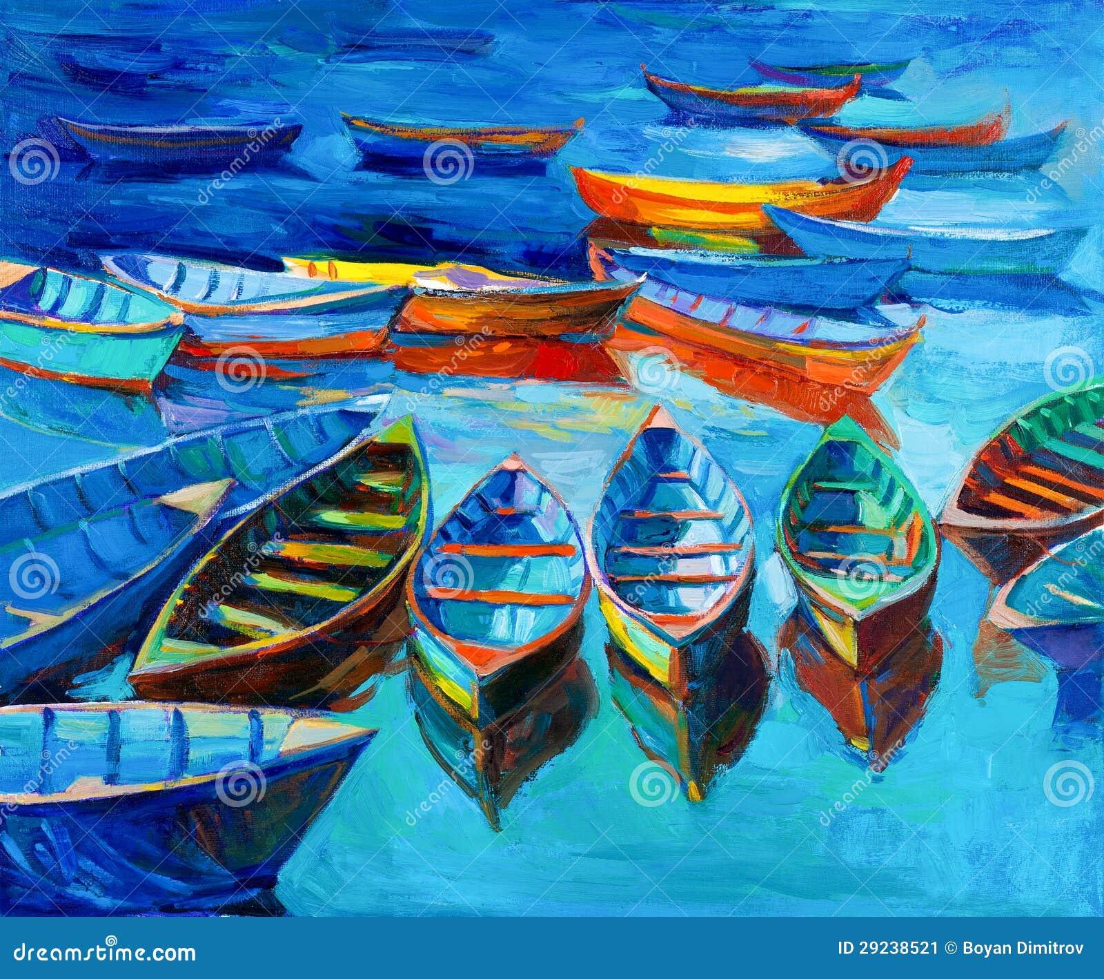 Download Barcos ilustração stock. Ilustração de impressionism - 29238521