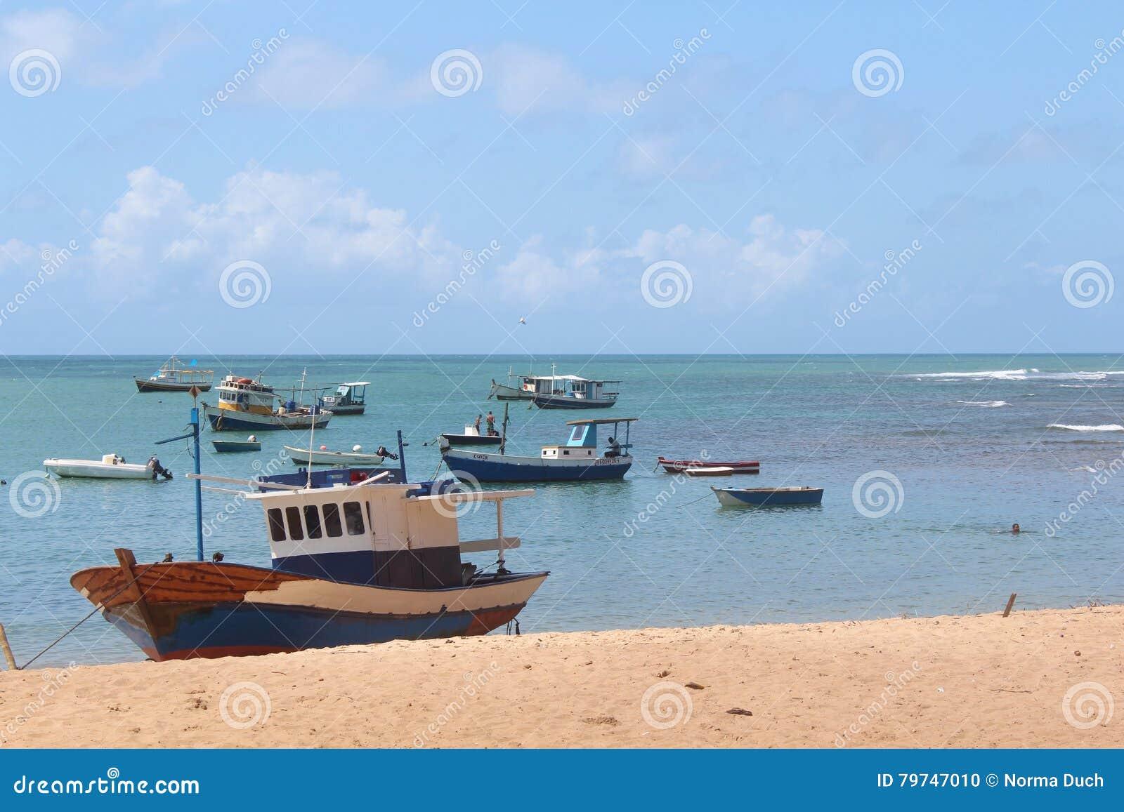 Barcos azules de reclinación