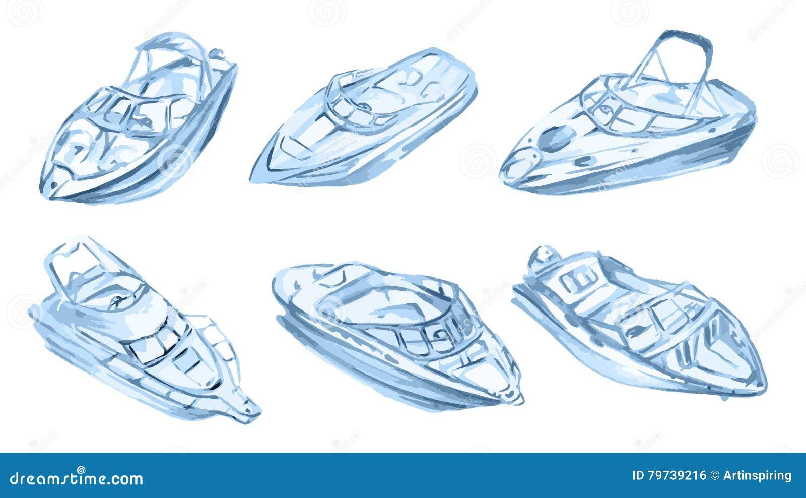 Barcos de motor de la acuarela