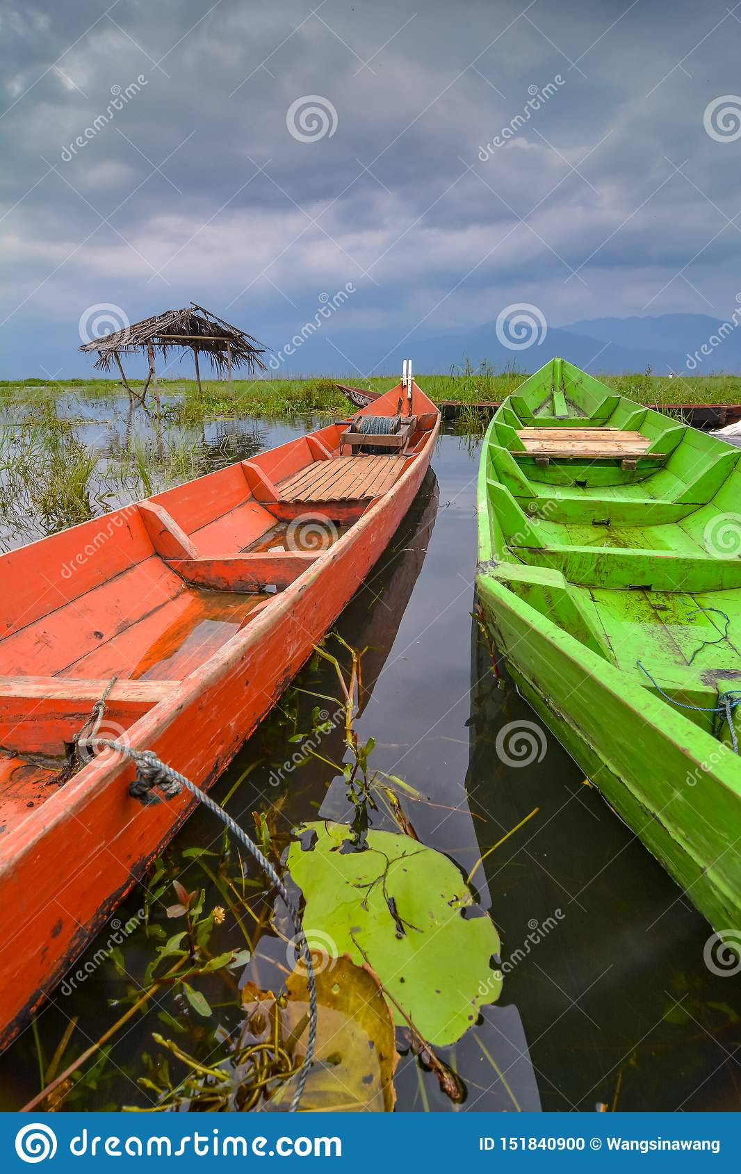 Barcos en el lago Rawapening
