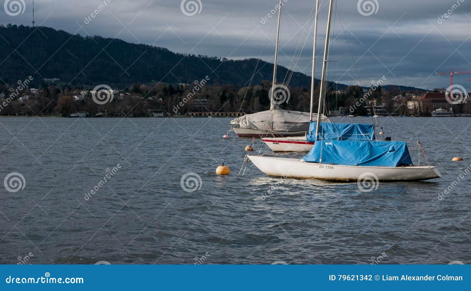 Barcos não utilizados no lago zurich na queda