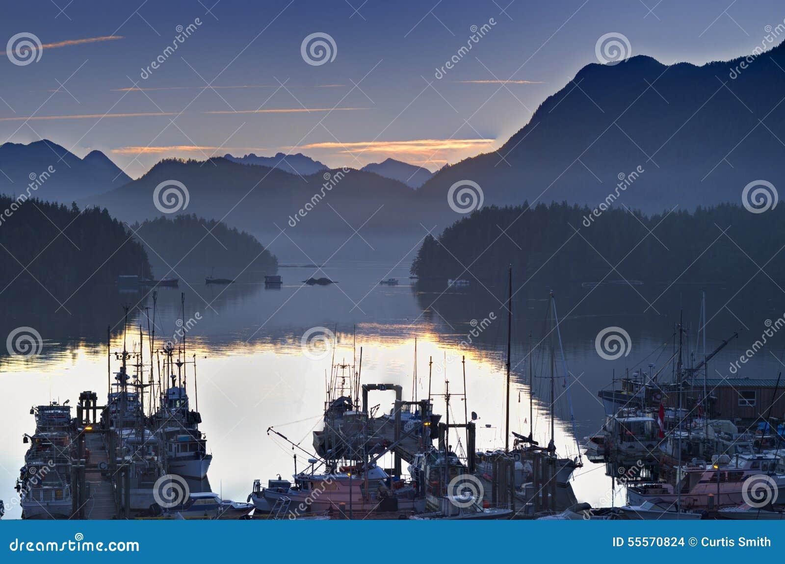 Barcos no porto calmo do porto no Columbia Britânica Canadá de Tofino do nascer do sol