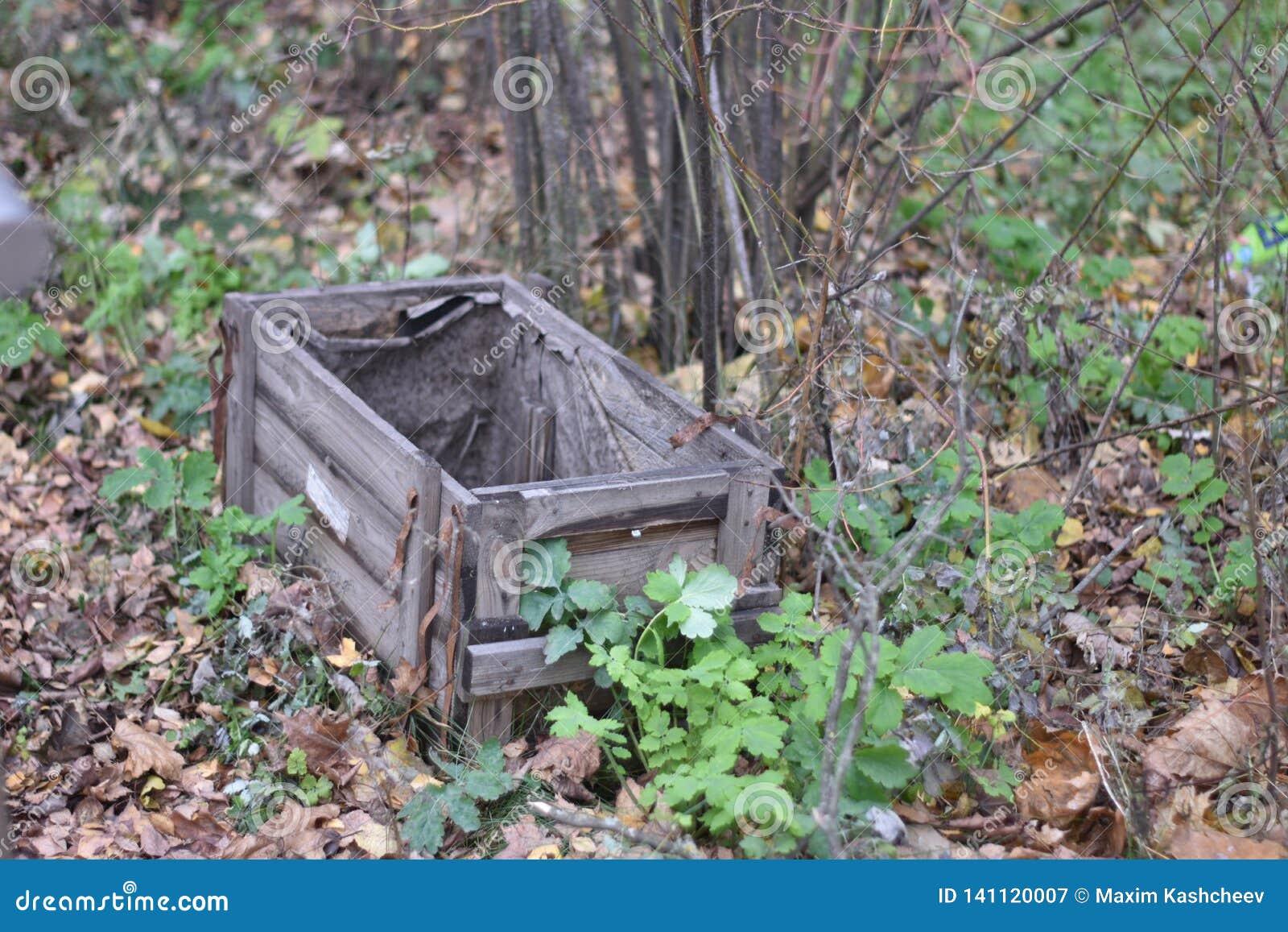 Bardzo stary drewniany pudełko outside na ziemi