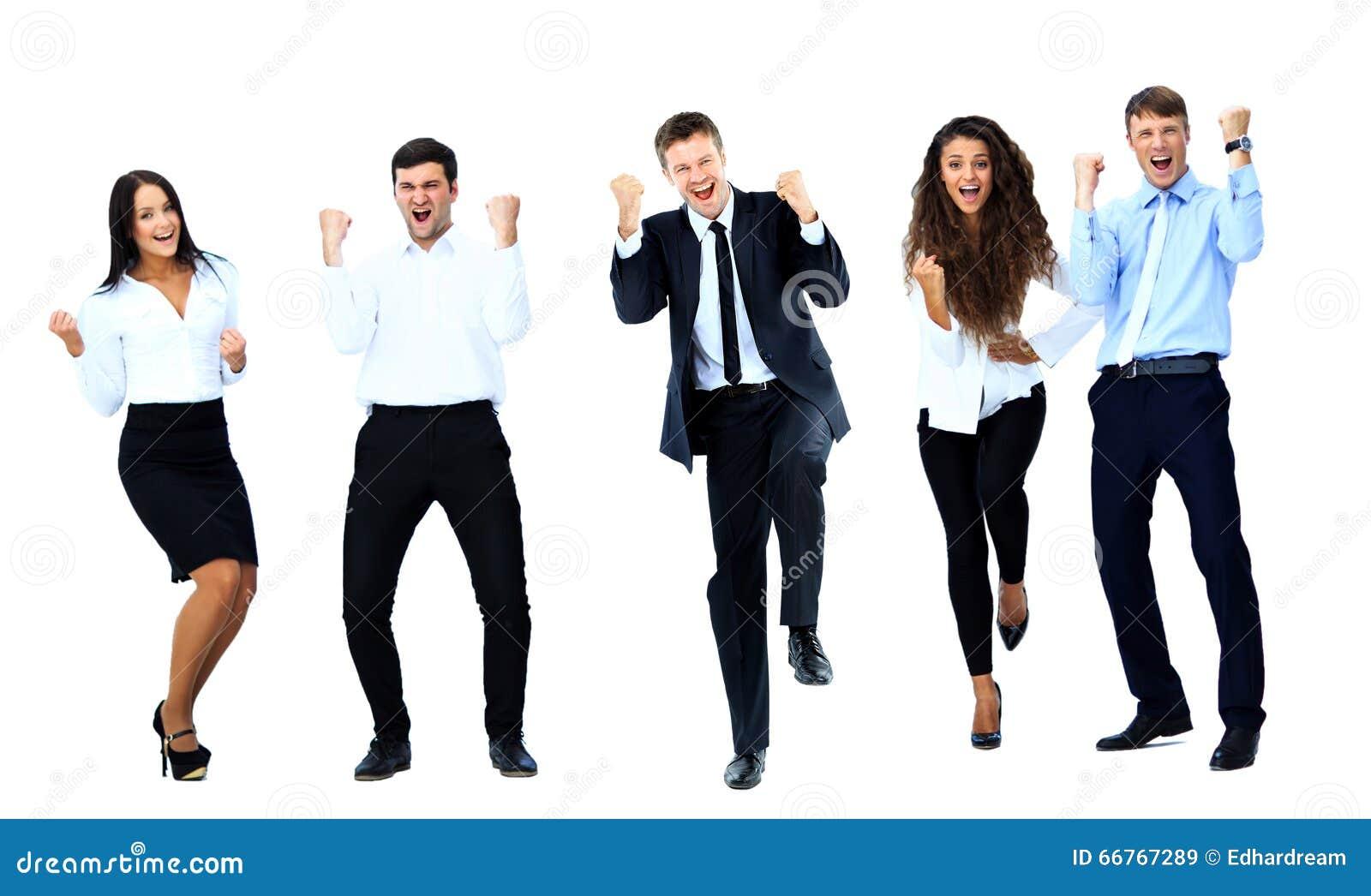 Bardzo szczęśliwi ludzie biznesu skakać
