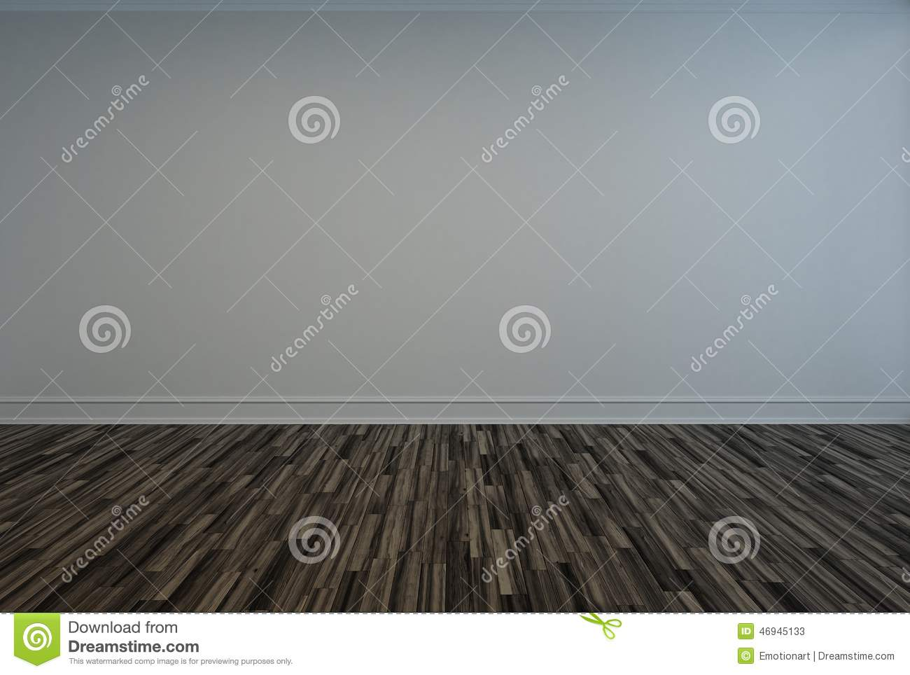 Bare Empty Room With A Wooden Parquet Floor Stock