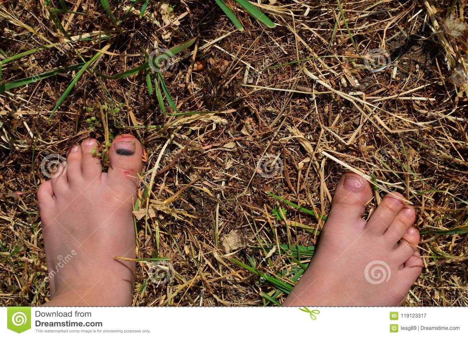 Bare feet of child