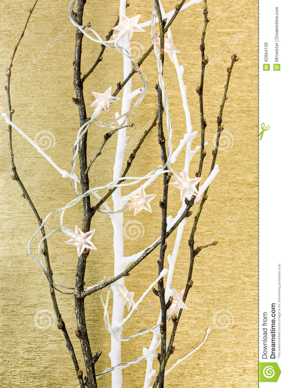 Bare Tree Branch With Stars Christmas Light Stock Photo ...
