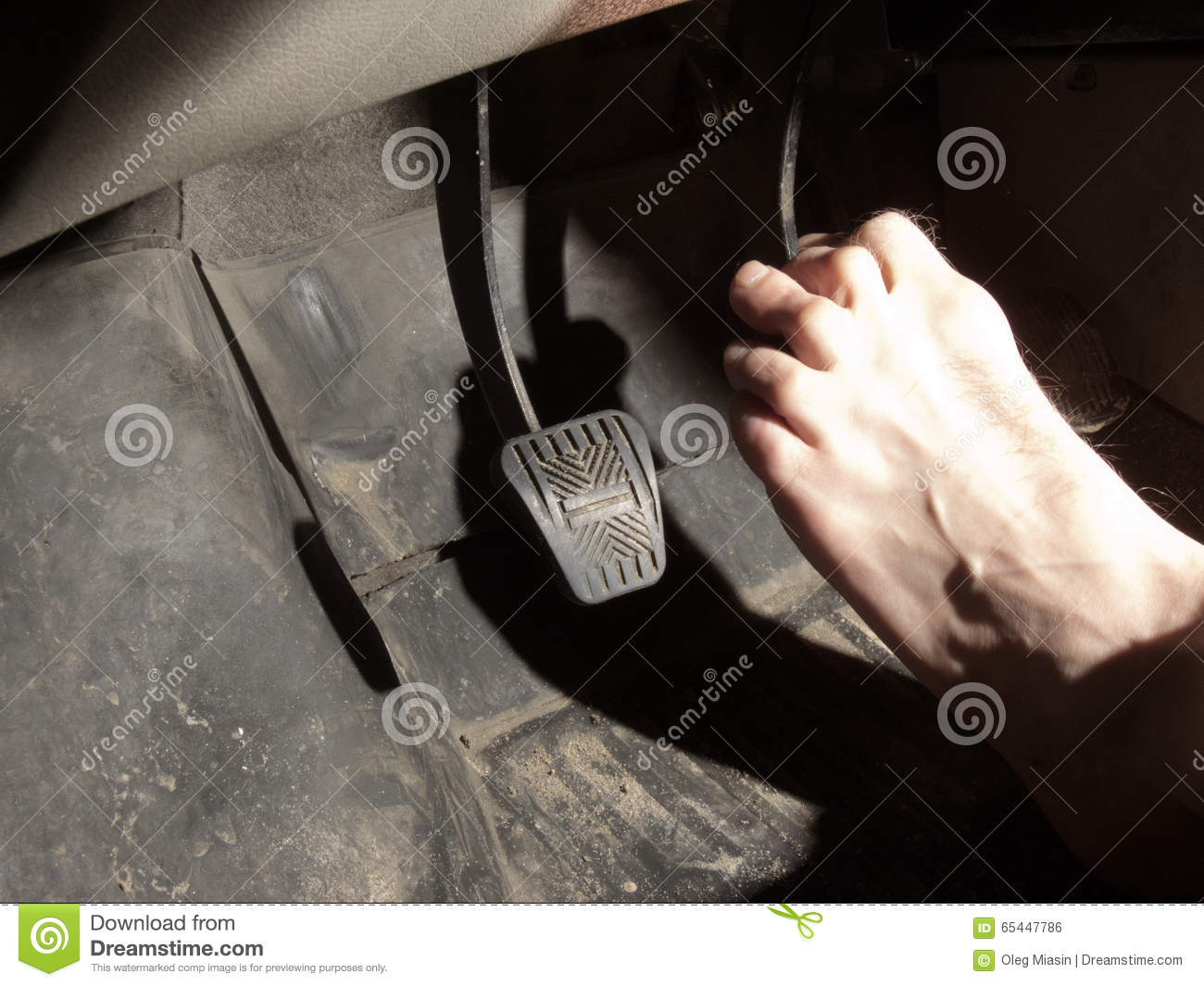 Barefoot Foot On The Brake Pedal Stock Photo Image Of