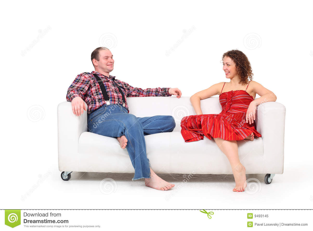 barefoot man and woman sit on white leather sofa royalty free stock photo image 9493145. Black Bedroom Furniture Sets. Home Design Ideas