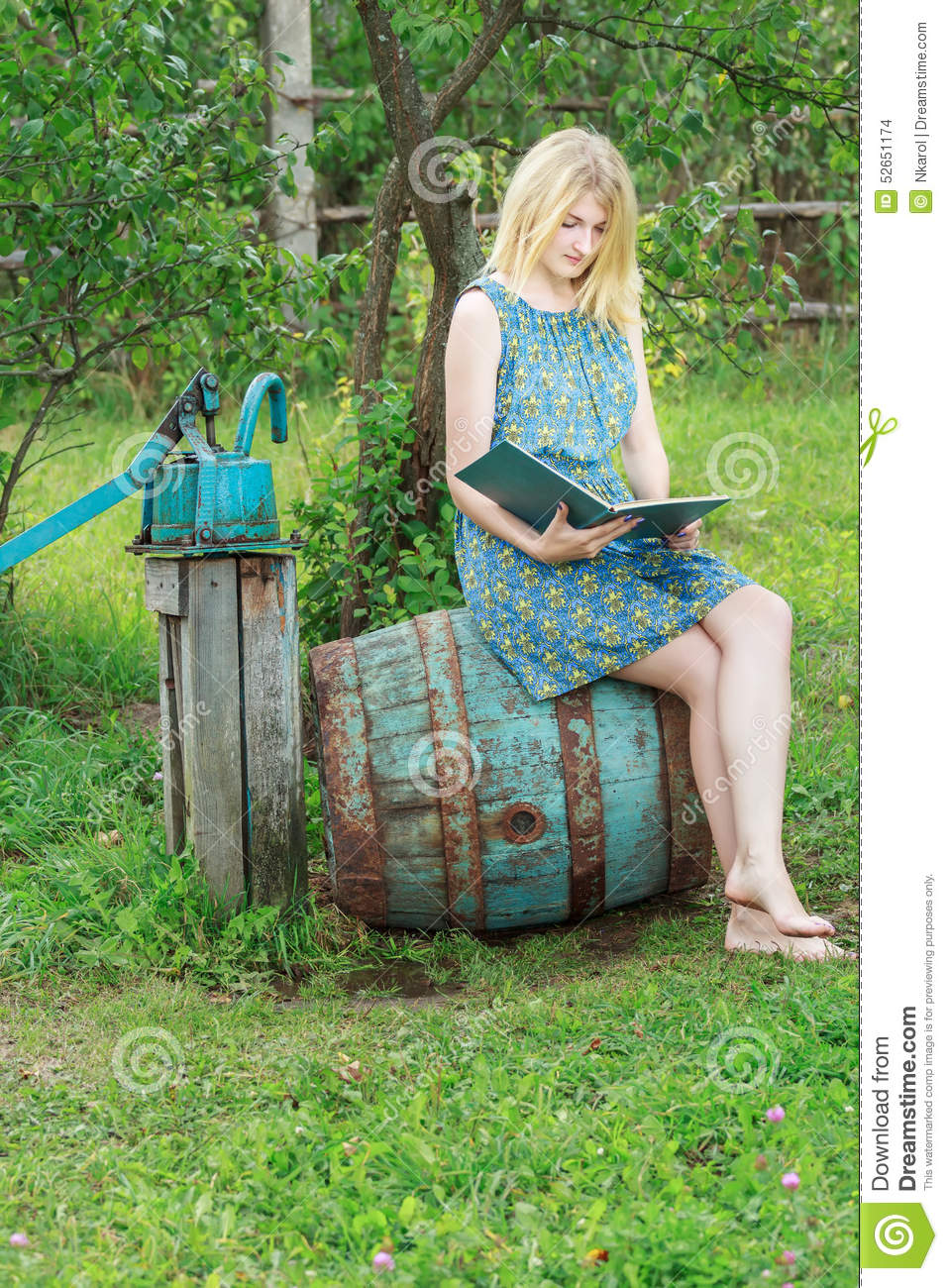 https://thumbs.dreamstime.com/z/barefoot-student-girl-blue-silk-feminine-dress-reading-book-summer-52651174.jpg