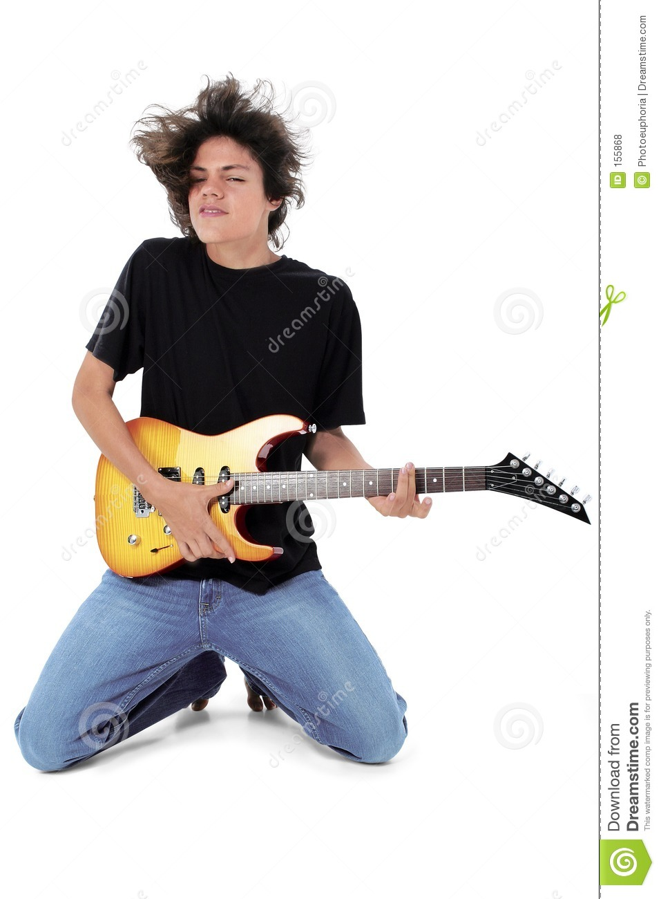 Barefoot Teen Playing Electric Guitar Over White