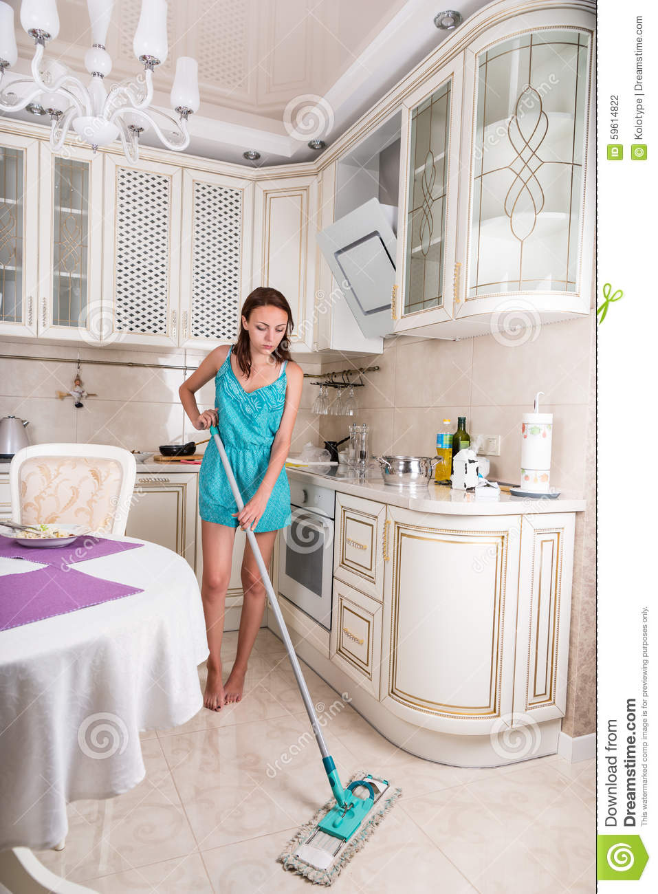 Mopping Kitchen Floor Barefoot Young Woman Mopping The Floor Stock Photo Image 59614822