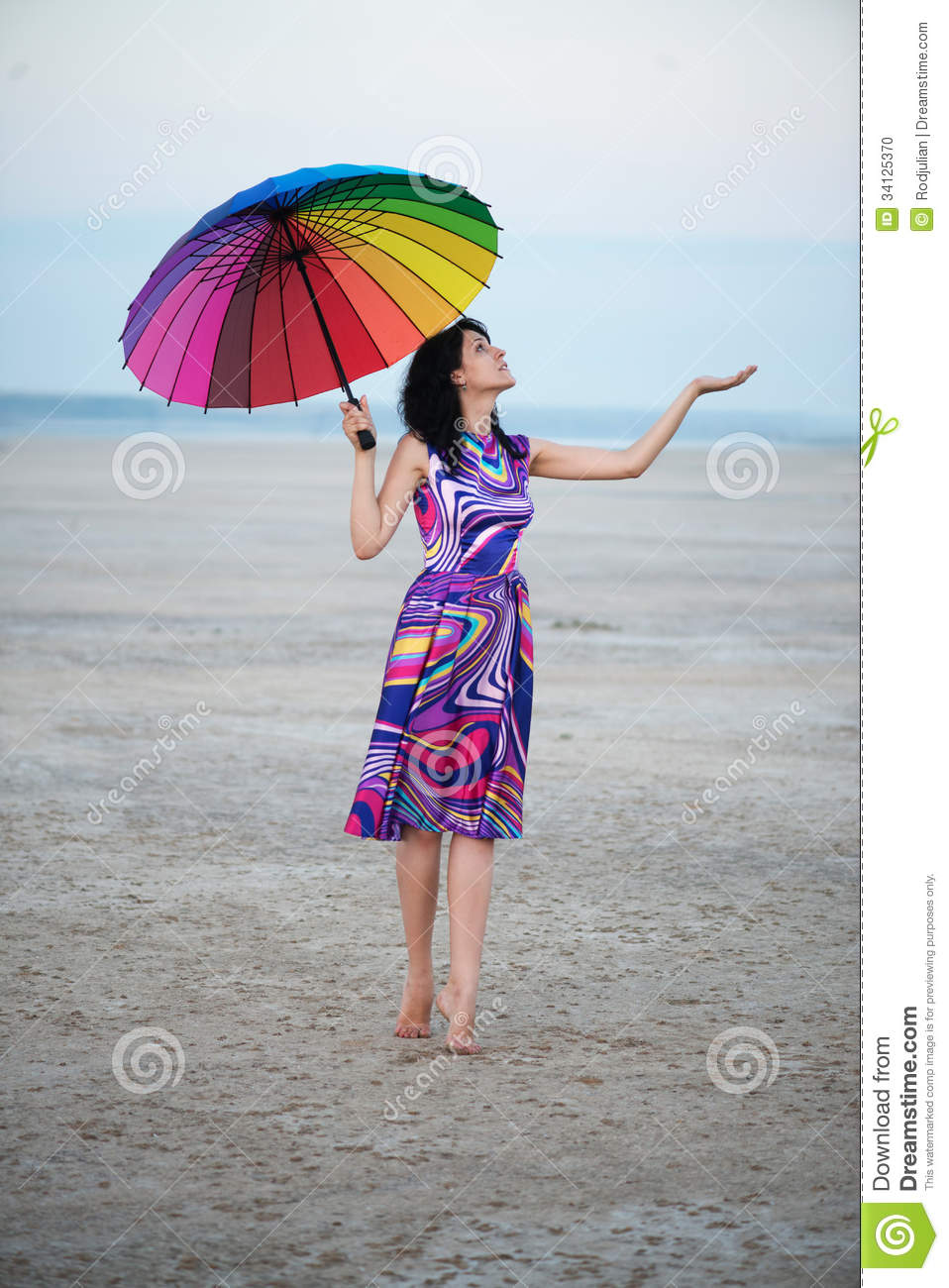 Barefooted Woman With Colorful Umbrella Stock Photo ...