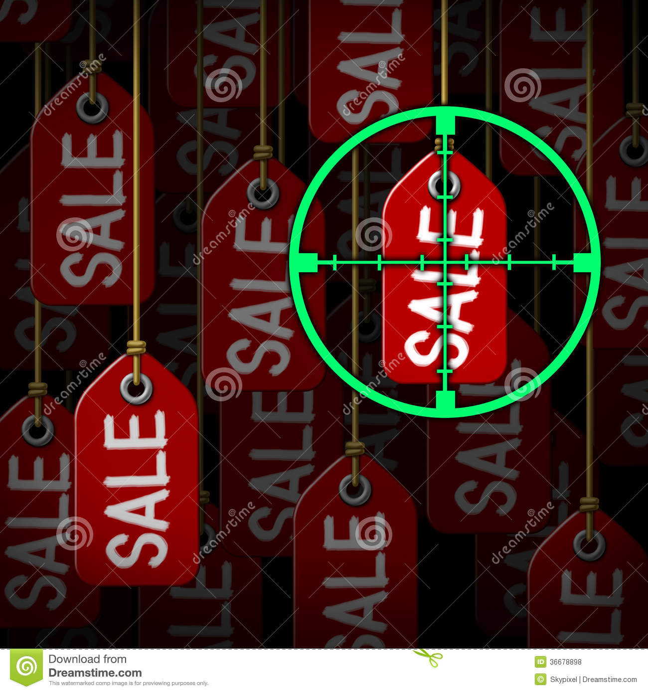 http://thumbs.dreamstime.com/z/bargain-hunter-hunting-sales-as-consumer-concept-target-crosshairs-aiming-hanging-price-tags-as-metaphor-36678898.jpg