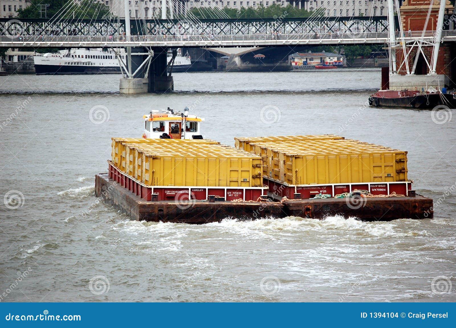 Barge on Thames River