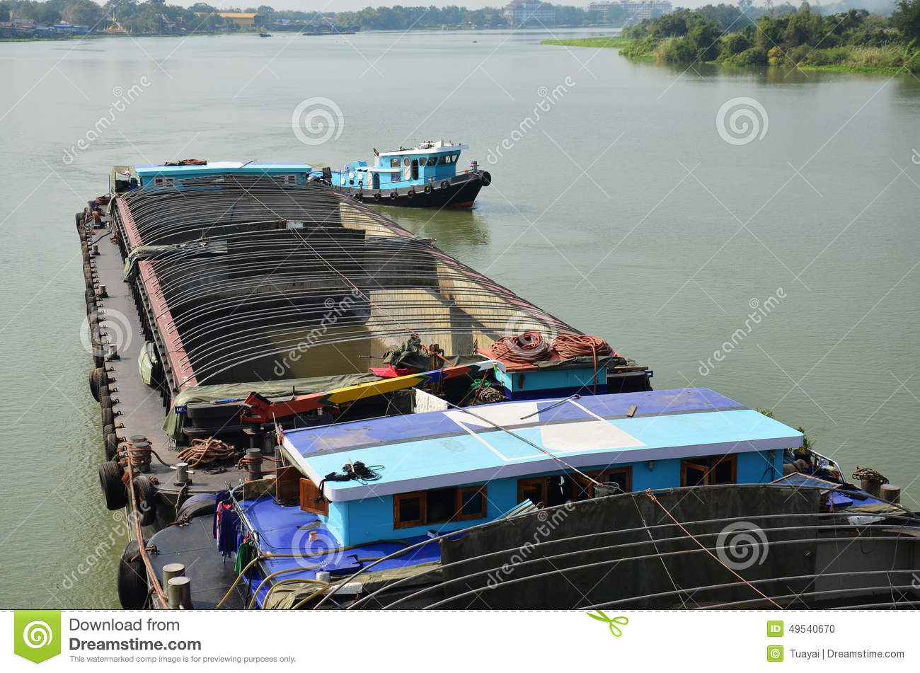 Barge And Tug Boat Cargo Ship In Choaphraya River At ...