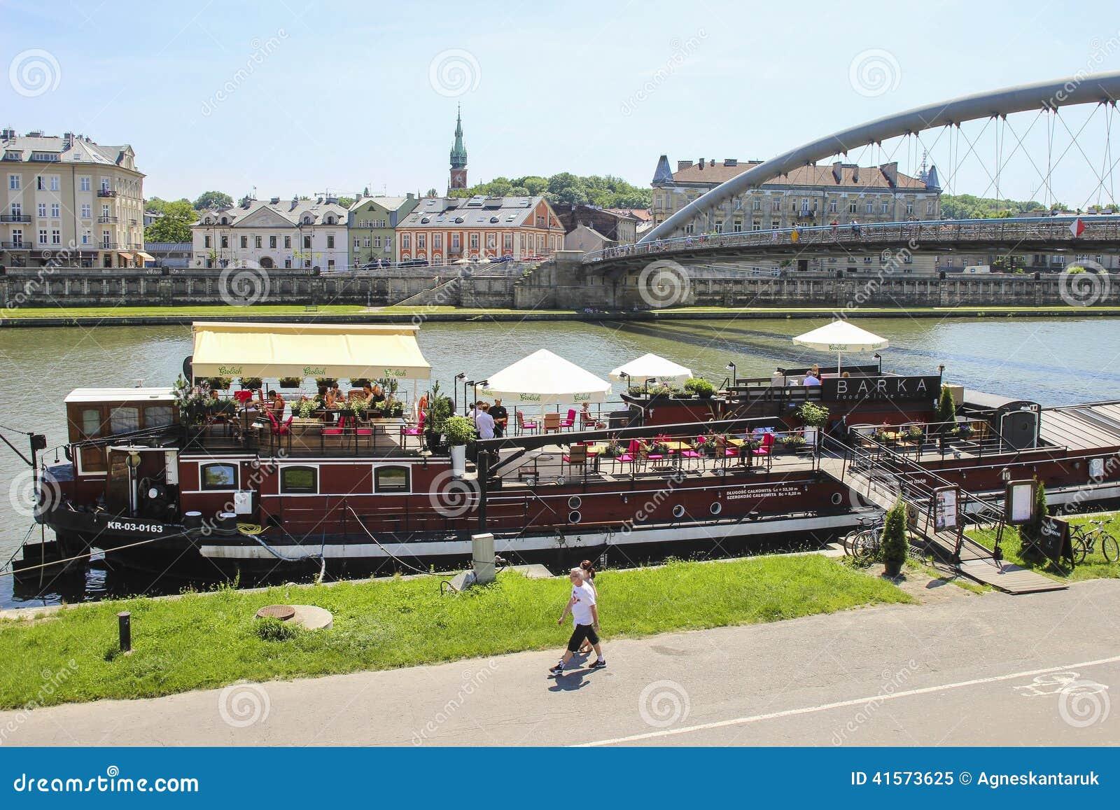 Wisla Krakow: Barges On Wisla River, Krakow Poland Editorial Image