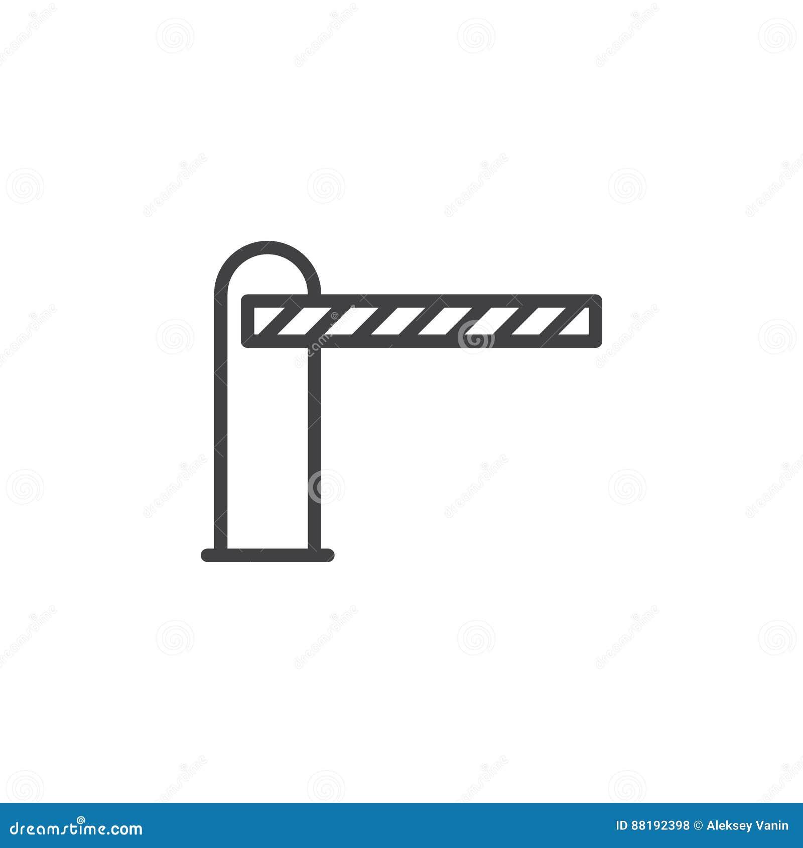 Bariera zamykał kreskową ikonę, konturu wektoru znak
