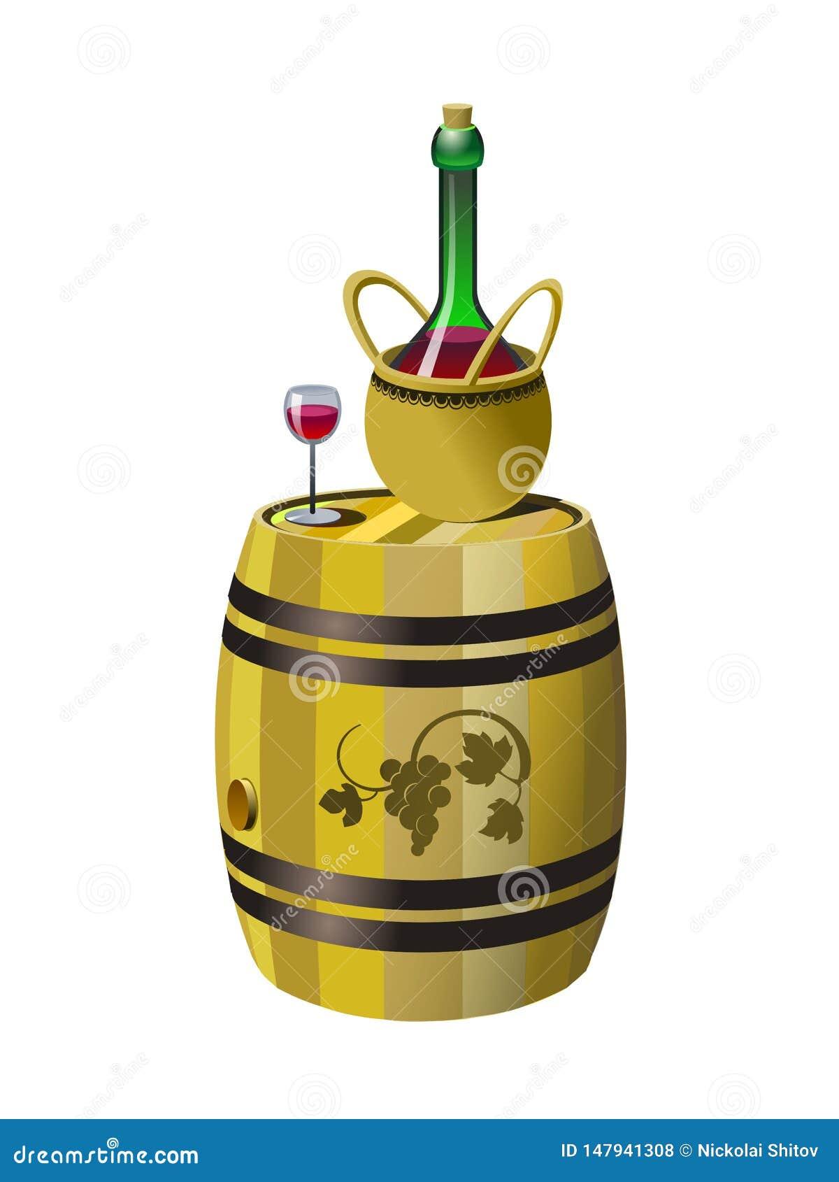 Baril et bouteille de vin rouge