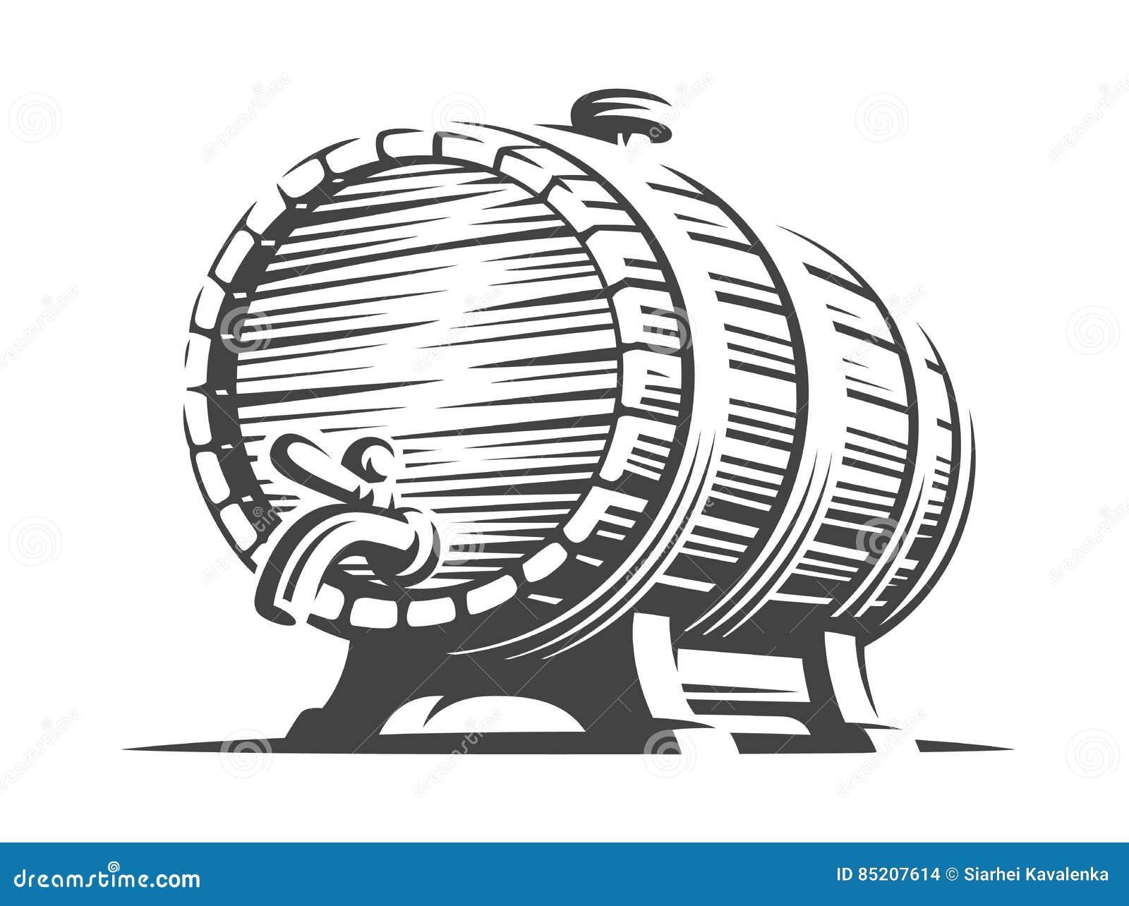 Barilotto di birra di legno - vector l illustrazione, progettazione