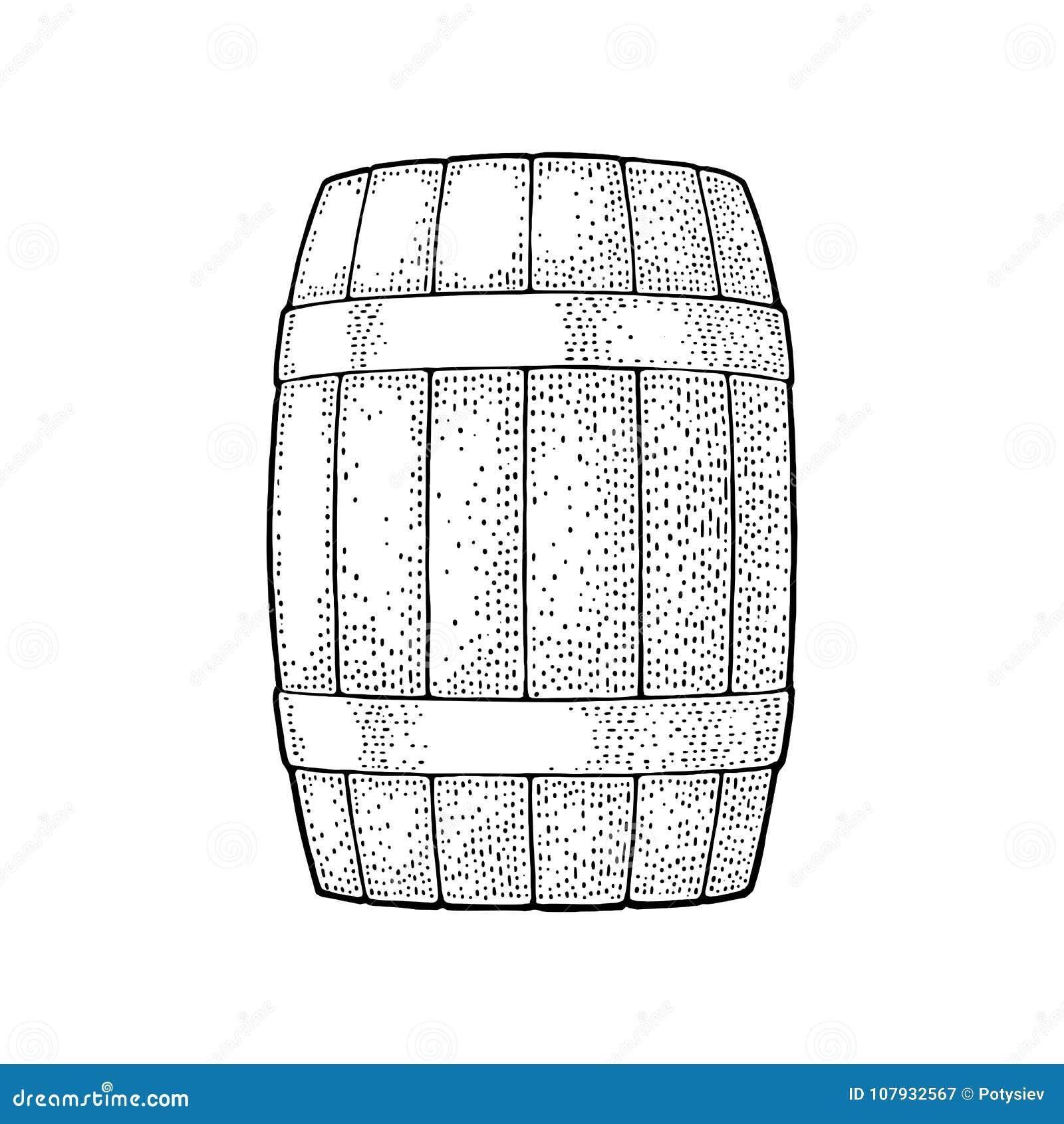 Barilotto di legno con i cerchi del metallo che incidono l illustrazione di vettore