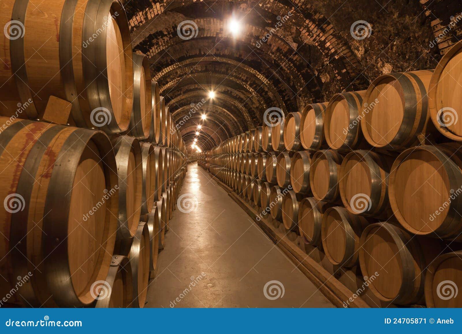 Barils de vin dans la cave