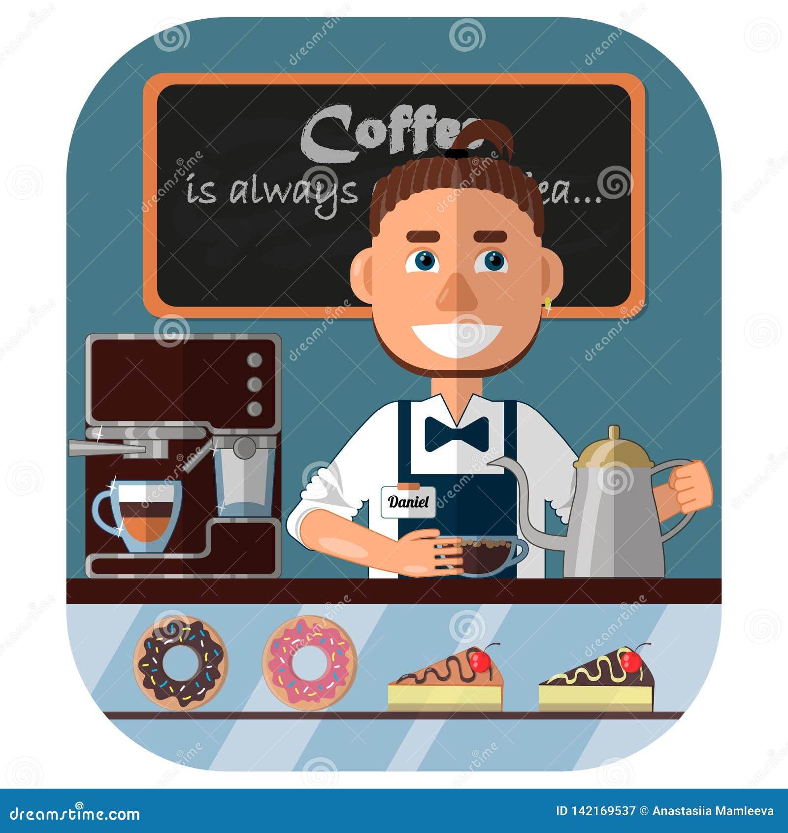 Barista bij de teller in de koffiewinkel, de koffiemachine en de snoepjes in het venster