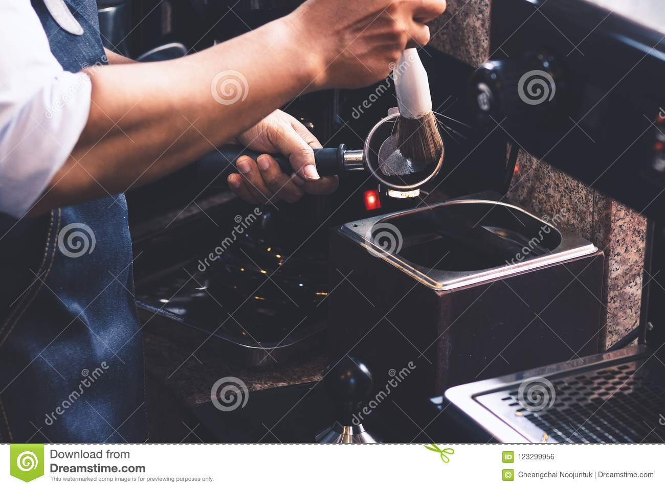 Barista Men Cleaning Coffee