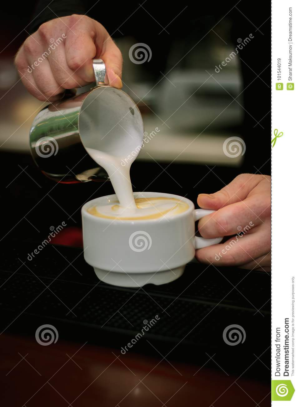 Barista Pouring Milk In Capuccino Or Latte Coffee In ...