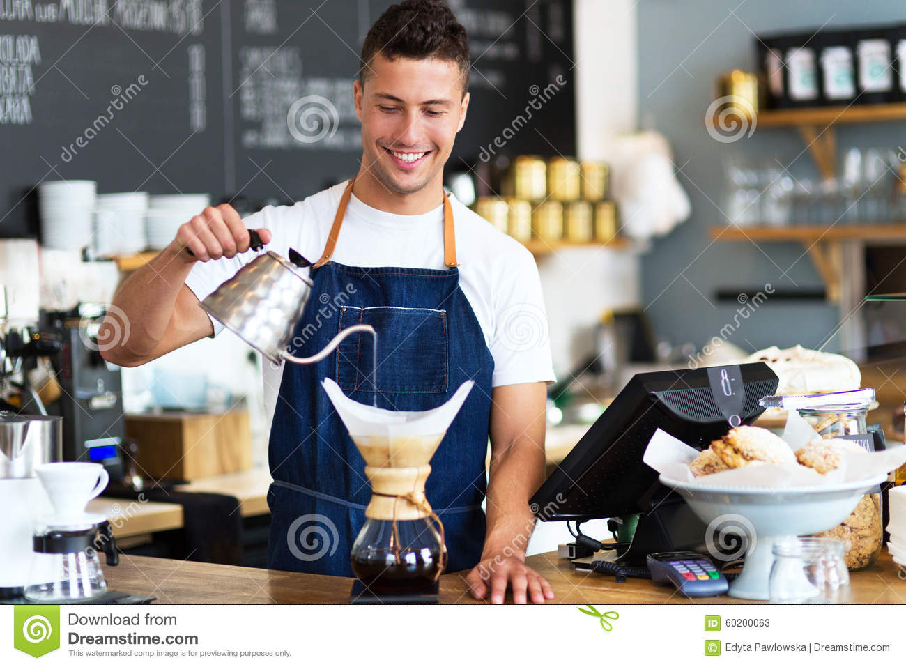 barista pouring water into coffee filter stock image image of food filter 60200063. Black Bedroom Furniture Sets. Home Design Ideas