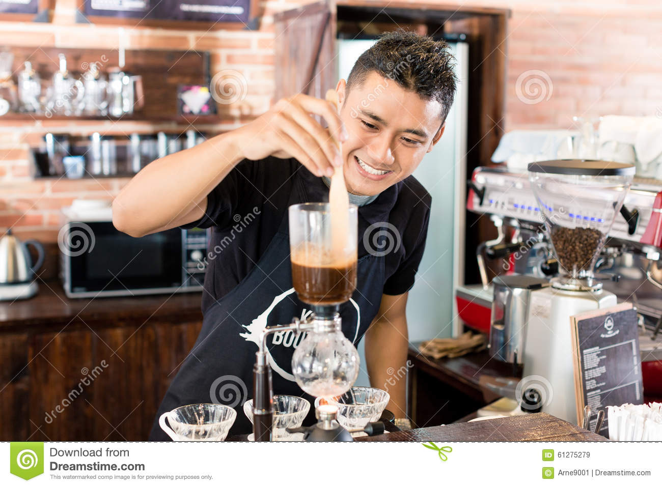 barista preparing drip coffee in asian coffee shop stock photo image 61275279. Black Bedroom Furniture Sets. Home Design Ideas