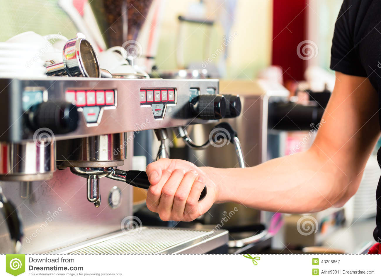Barista Preparing Espresso At Coffee Maker Stock Photo Image 43206867