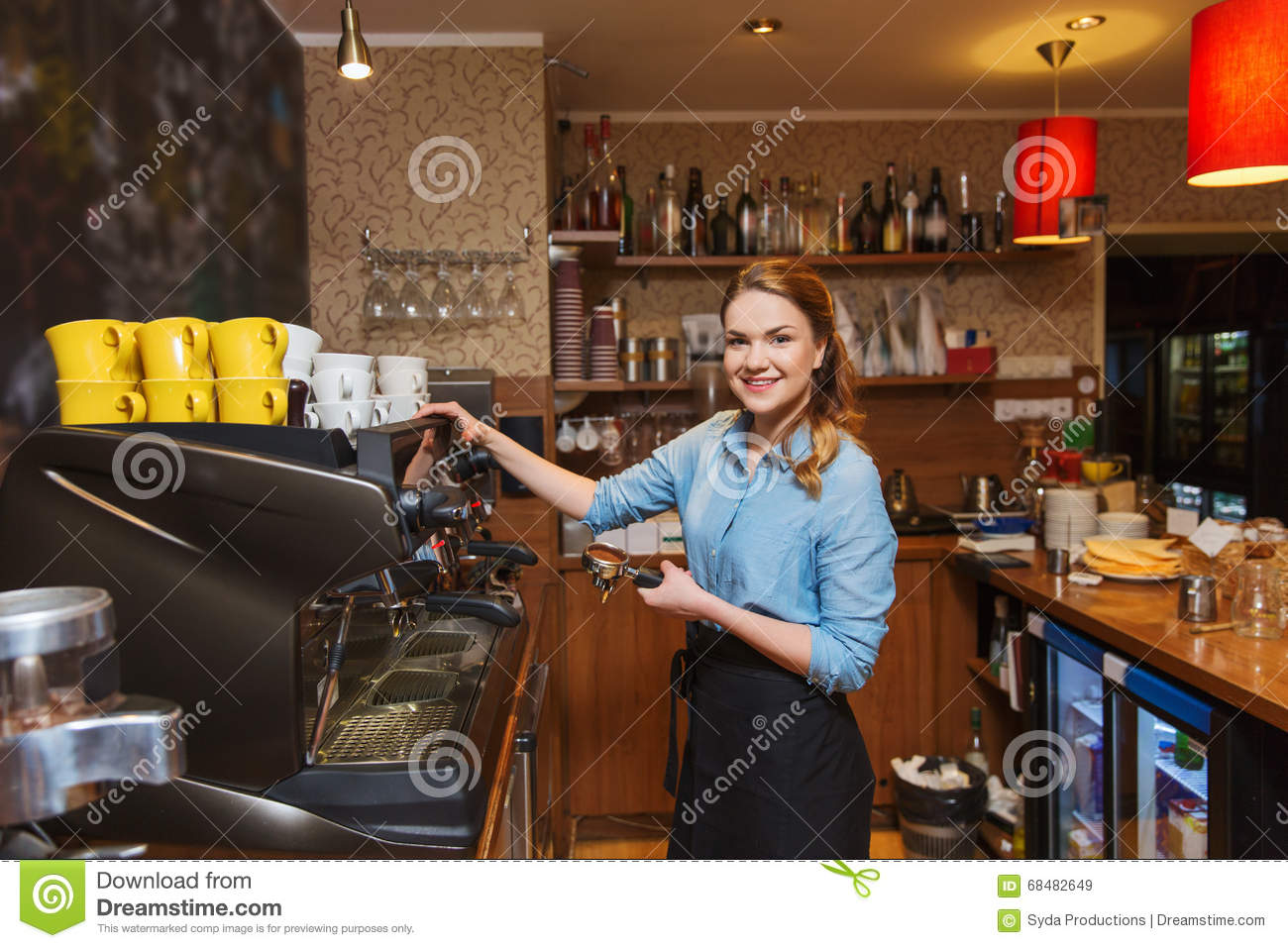 barista woman making coffee by machine at cafe stock image image 68482649. Black Bedroom Furniture Sets. Home Design Ideas