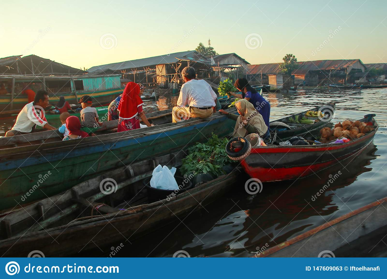 Barito river floating market in the morning