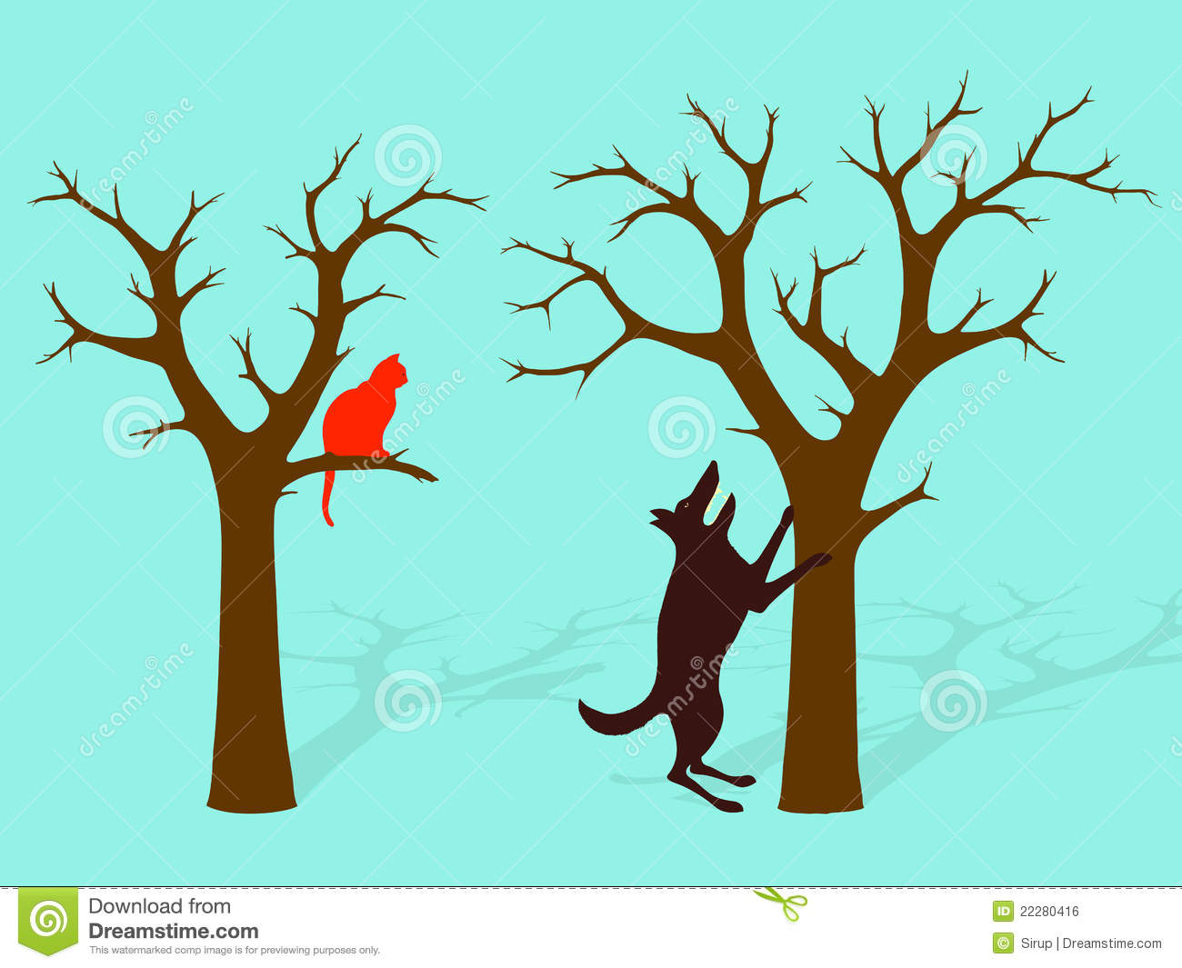Dog Barking At Cat In Tree