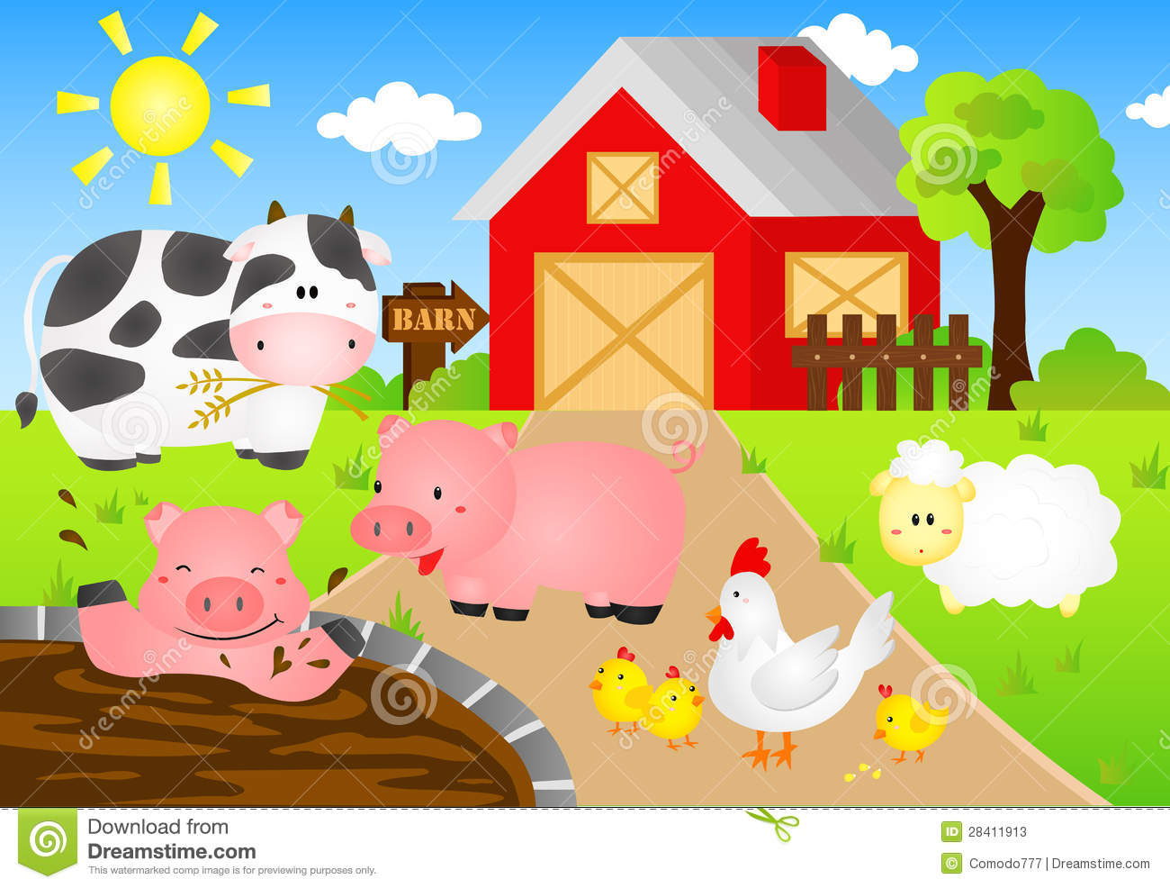 Barn Animals Stock Vector Illustration Of Fence