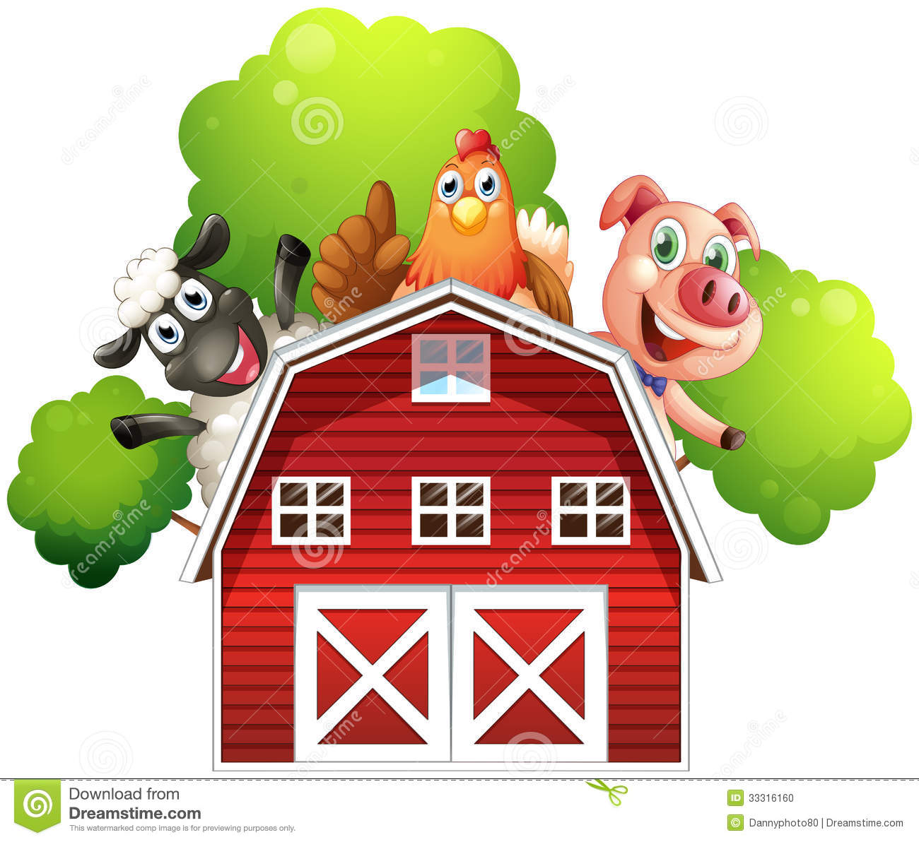 Download A Barn With Animals At The Rooftop Stock Illustration