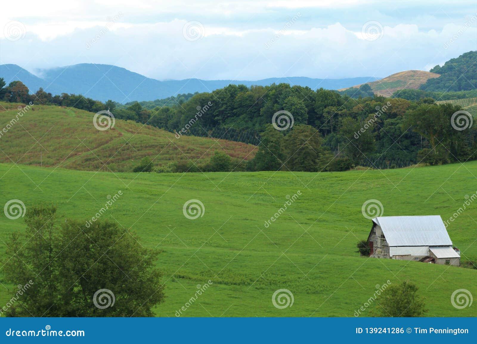 Barn in an Appalachian mountain field
