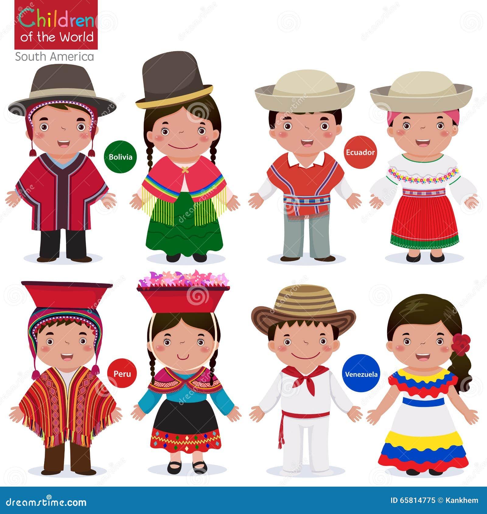 Barn av värld-Bolivia-Ecuador-Peru-Venezuela