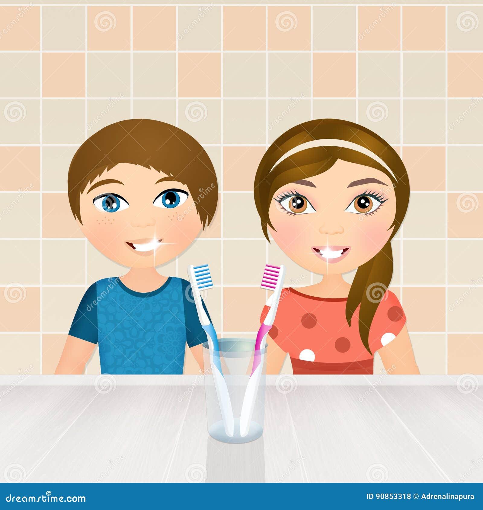 Barn borstar deras tänder