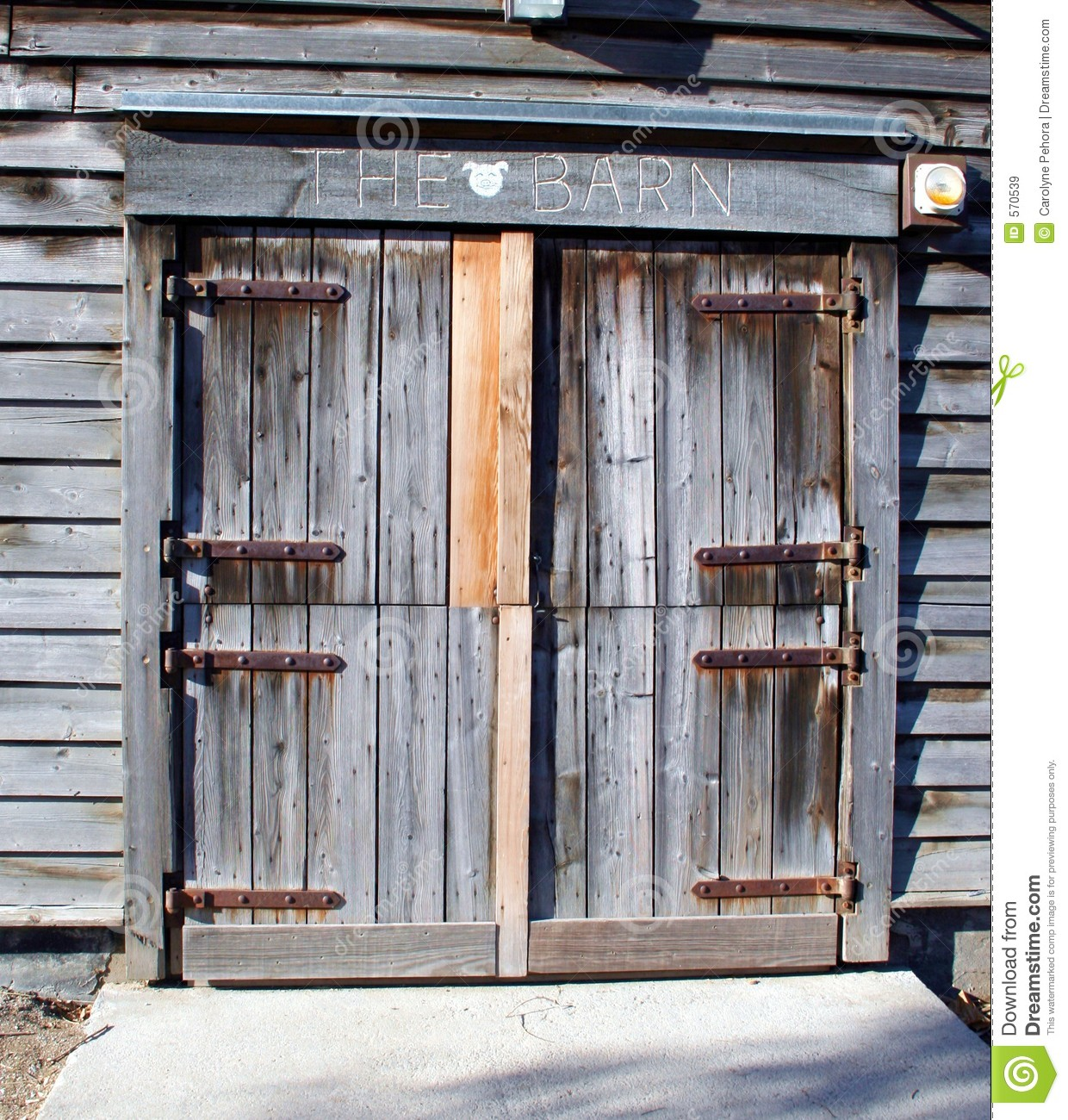 Barn door stock image image of grey rural hinges for Barn door pictures