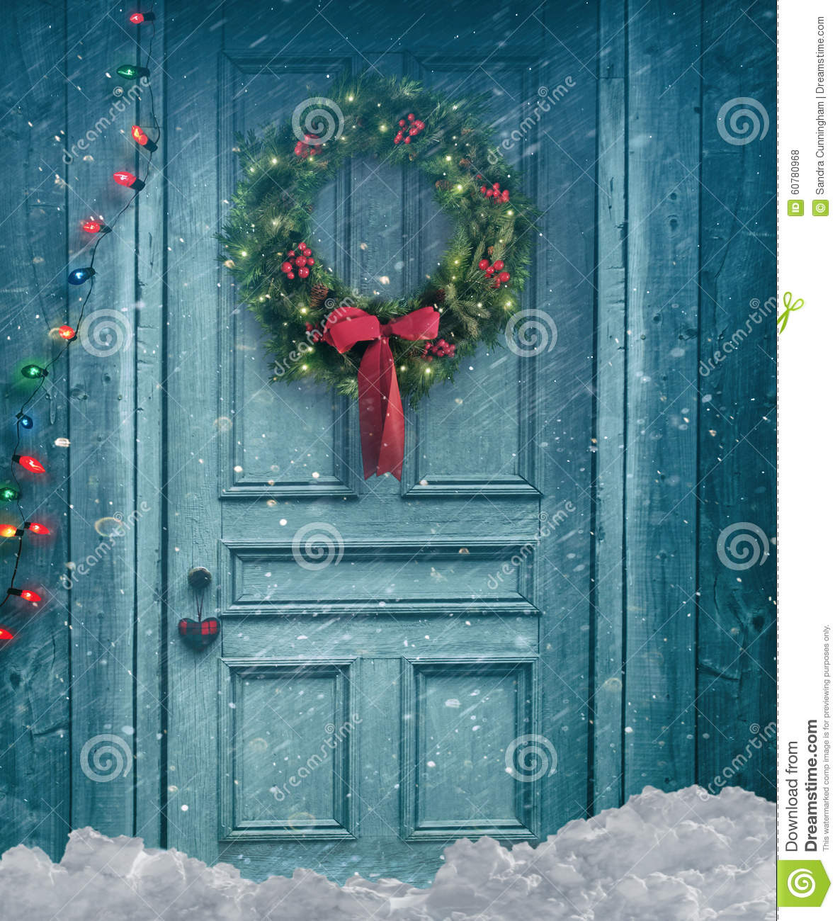 Barn Door With Christmas Wreath Stock Photo Image Of