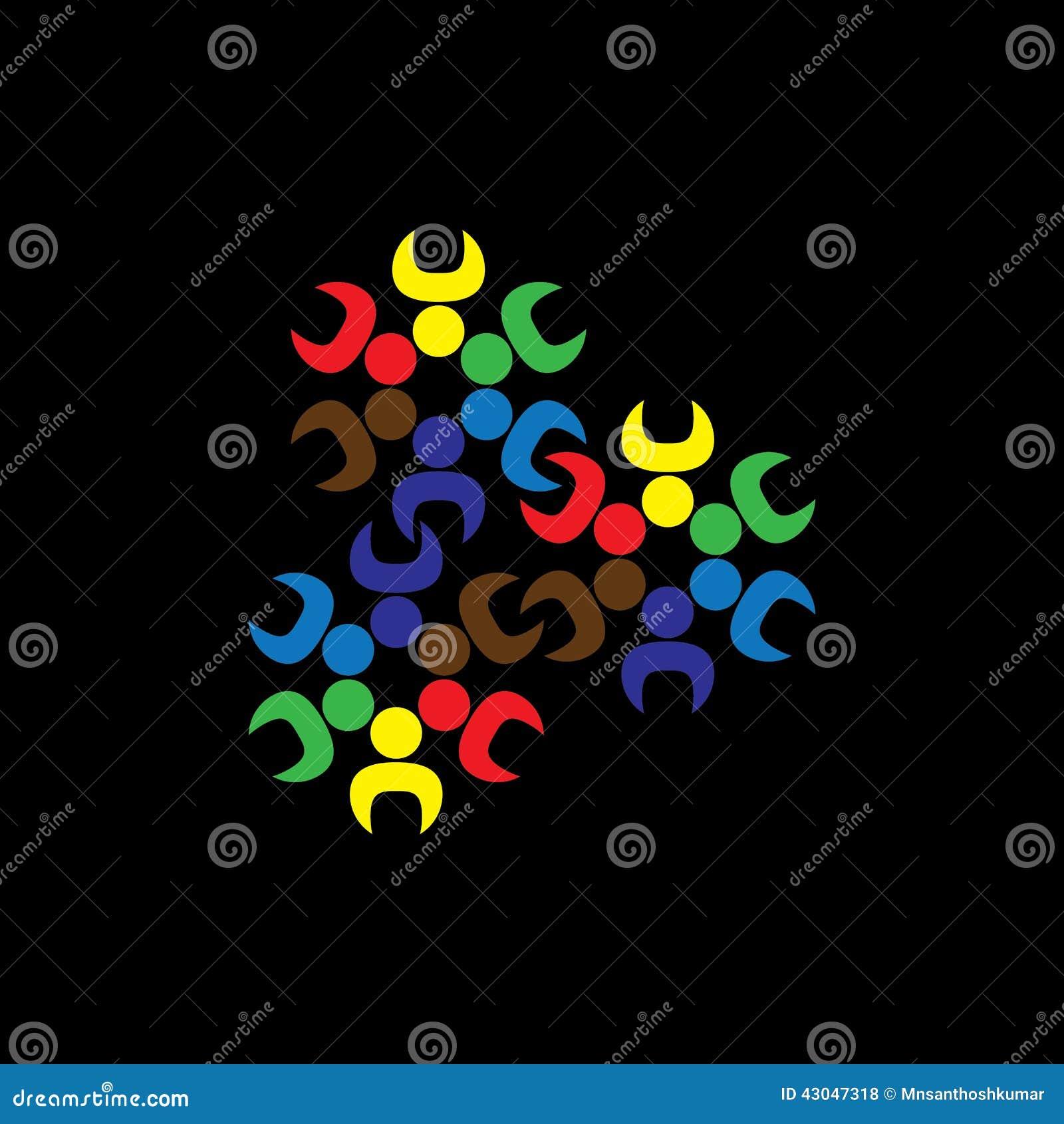 Barn eller arbetare för abstrakt begrepp för begreppsvektordiagram teams som ge