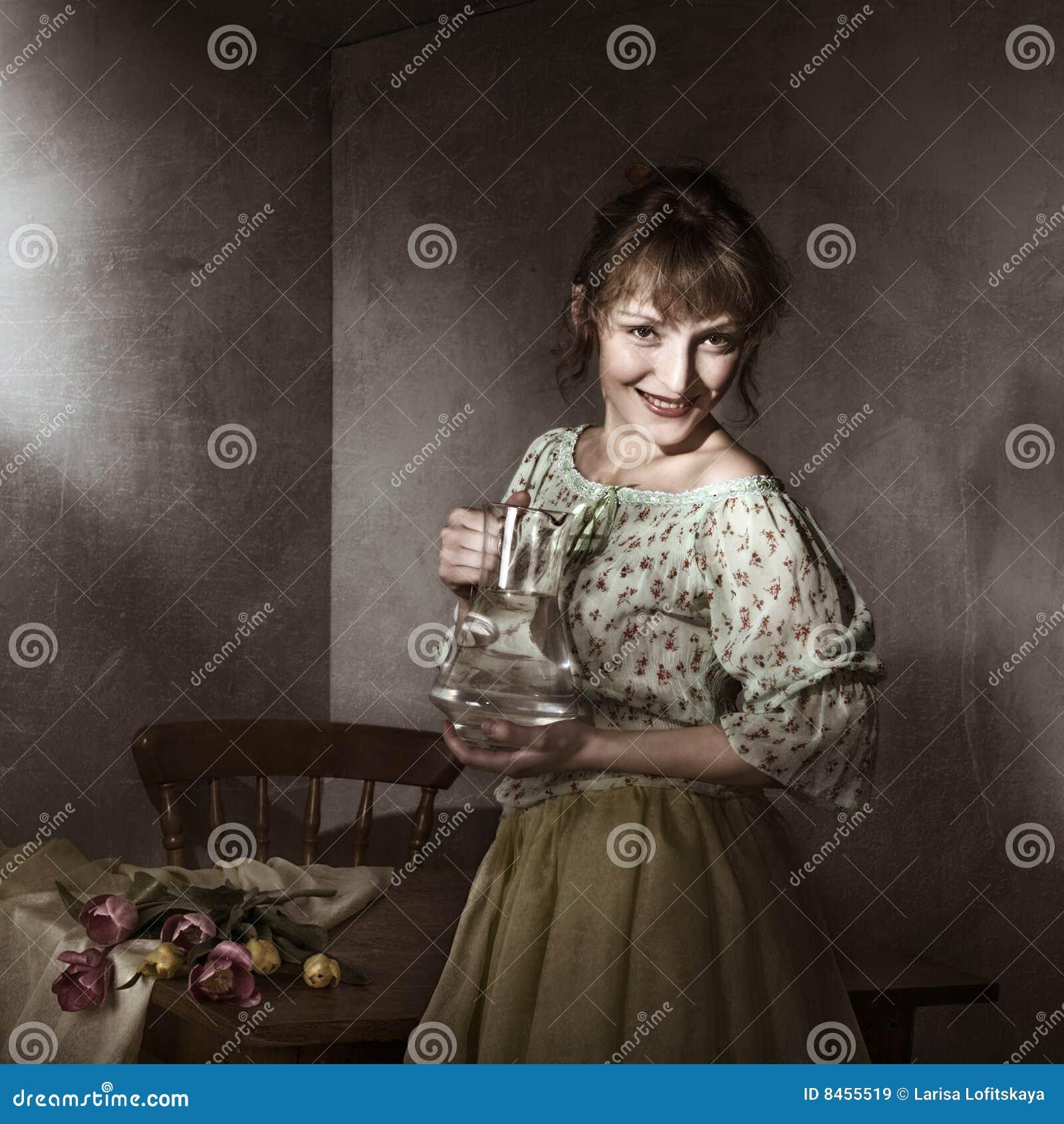 Barn för kvinna för ståendetulpantappning