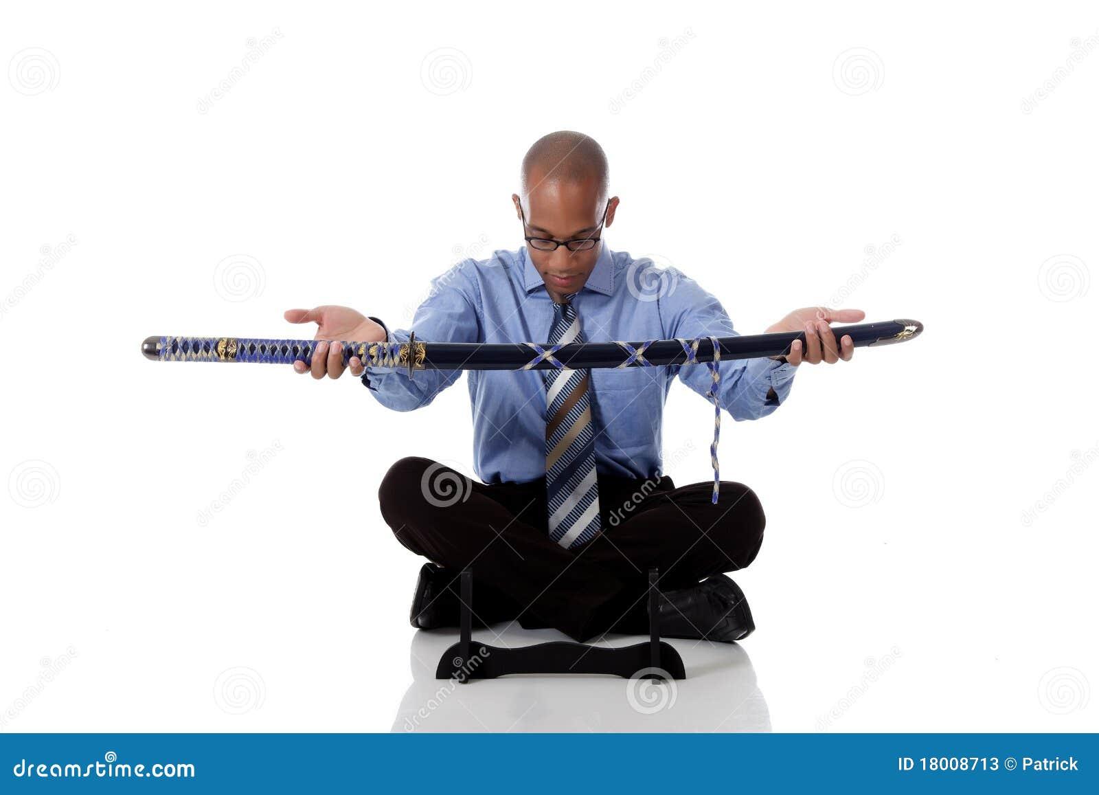 Barn för svärd för afrikansk amerikanaffärsman stiligt
