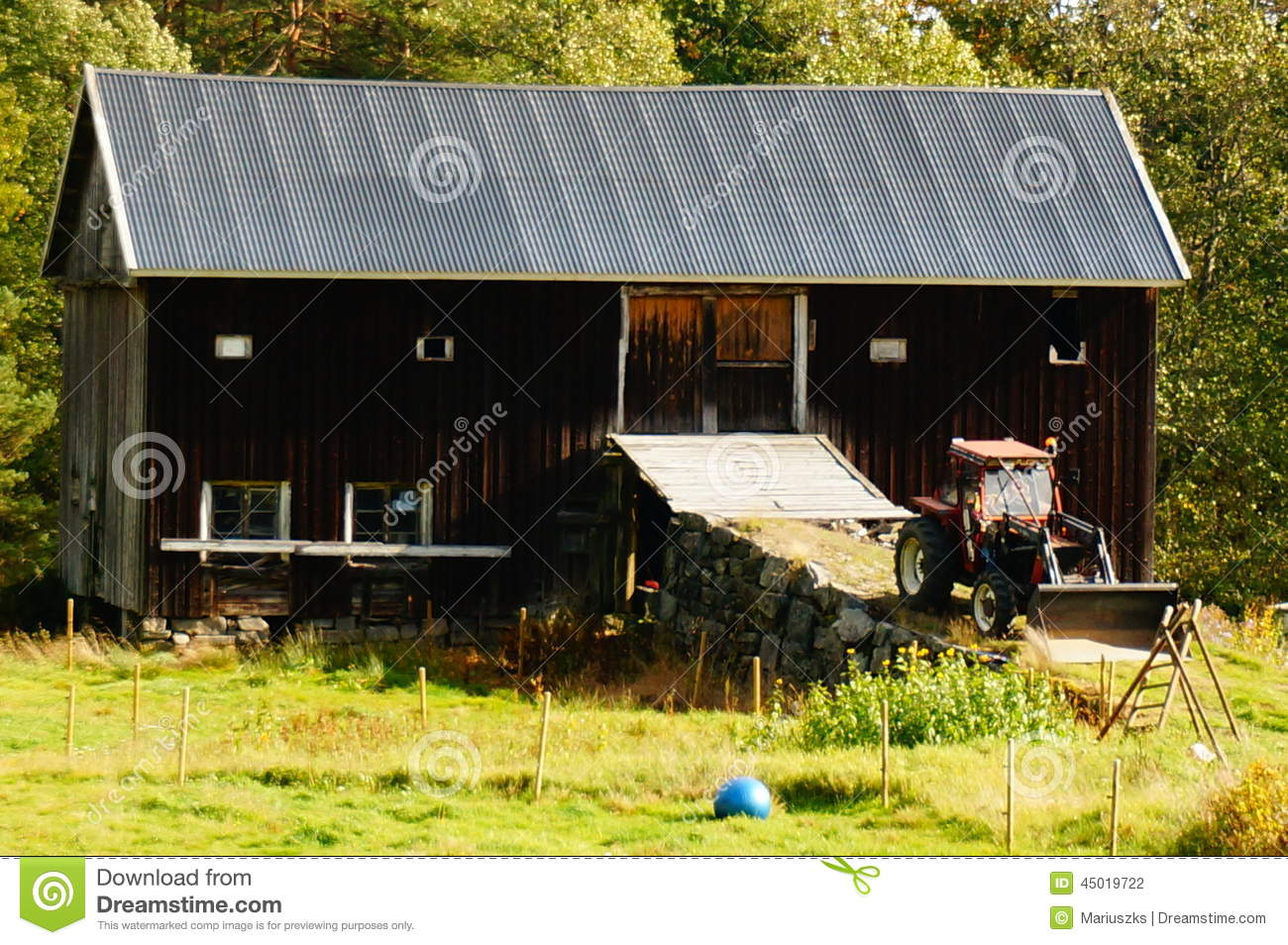Barn farm building and tractor norway stock photo image for Building a tractor barn