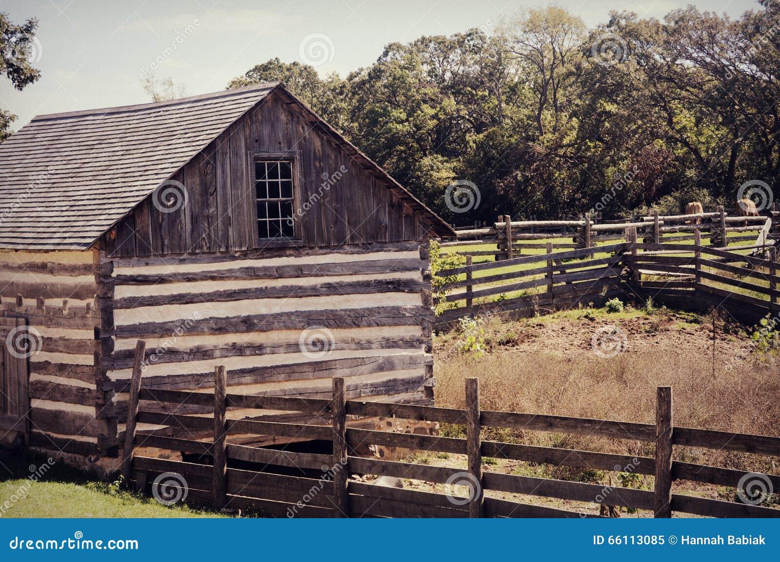 Barn with fences stock photo image